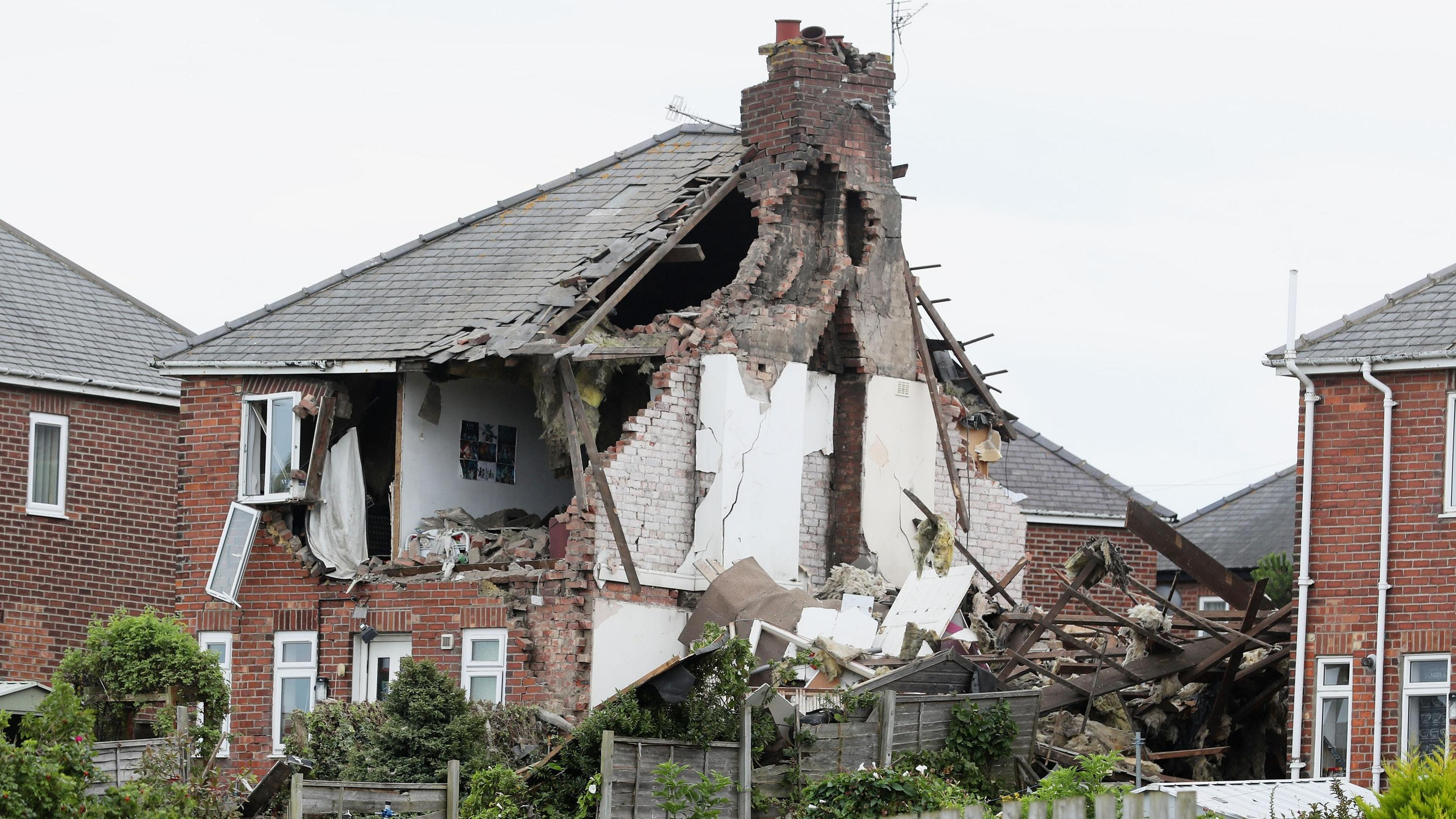 The scene in Rosslyn Avenue, Sunderland, after the explosion (Owen Humphreys/PA)