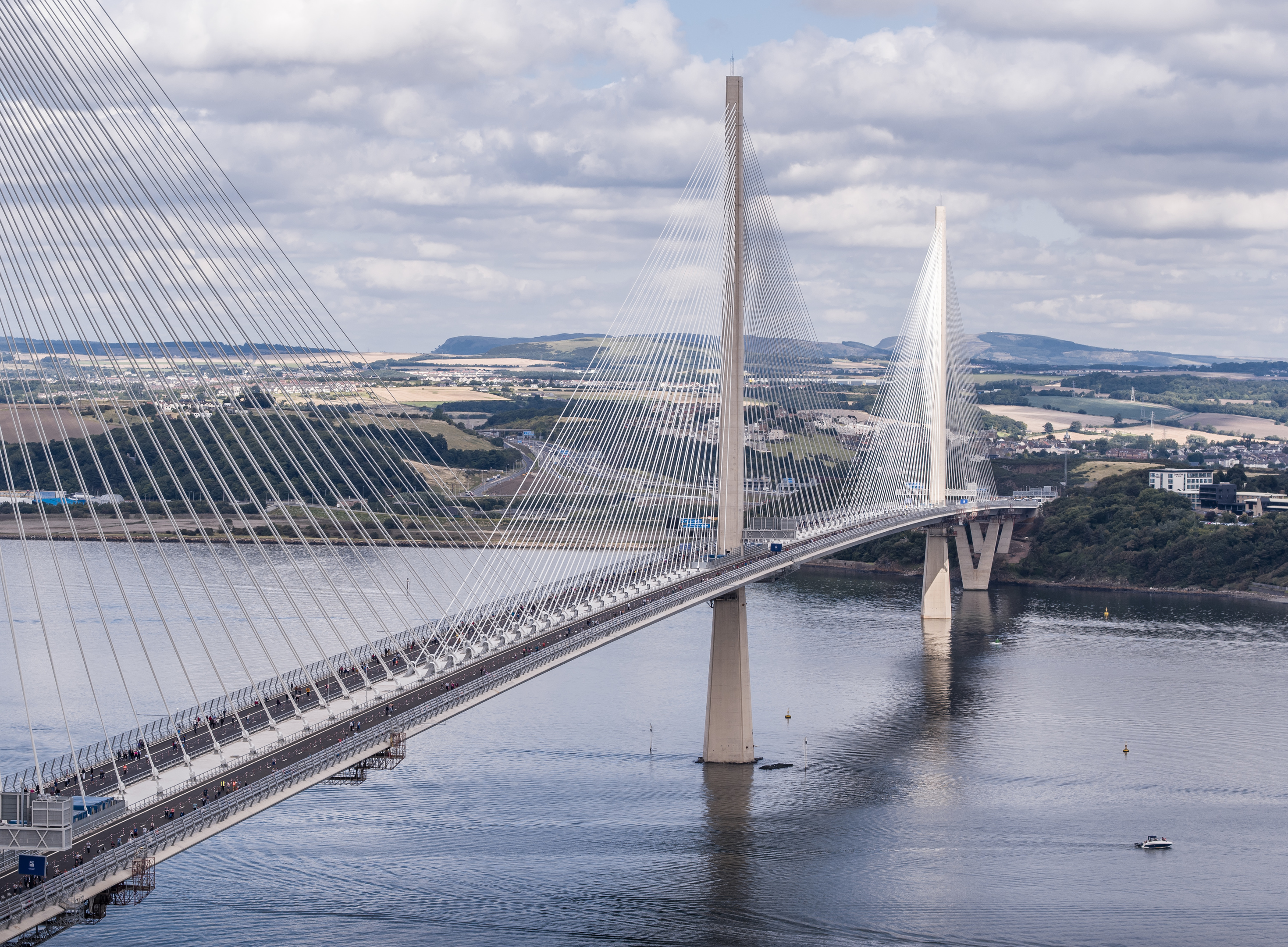 Walkers crossing the new Queensferry Crossing (Liam Anderstrem / Airborne Lens)