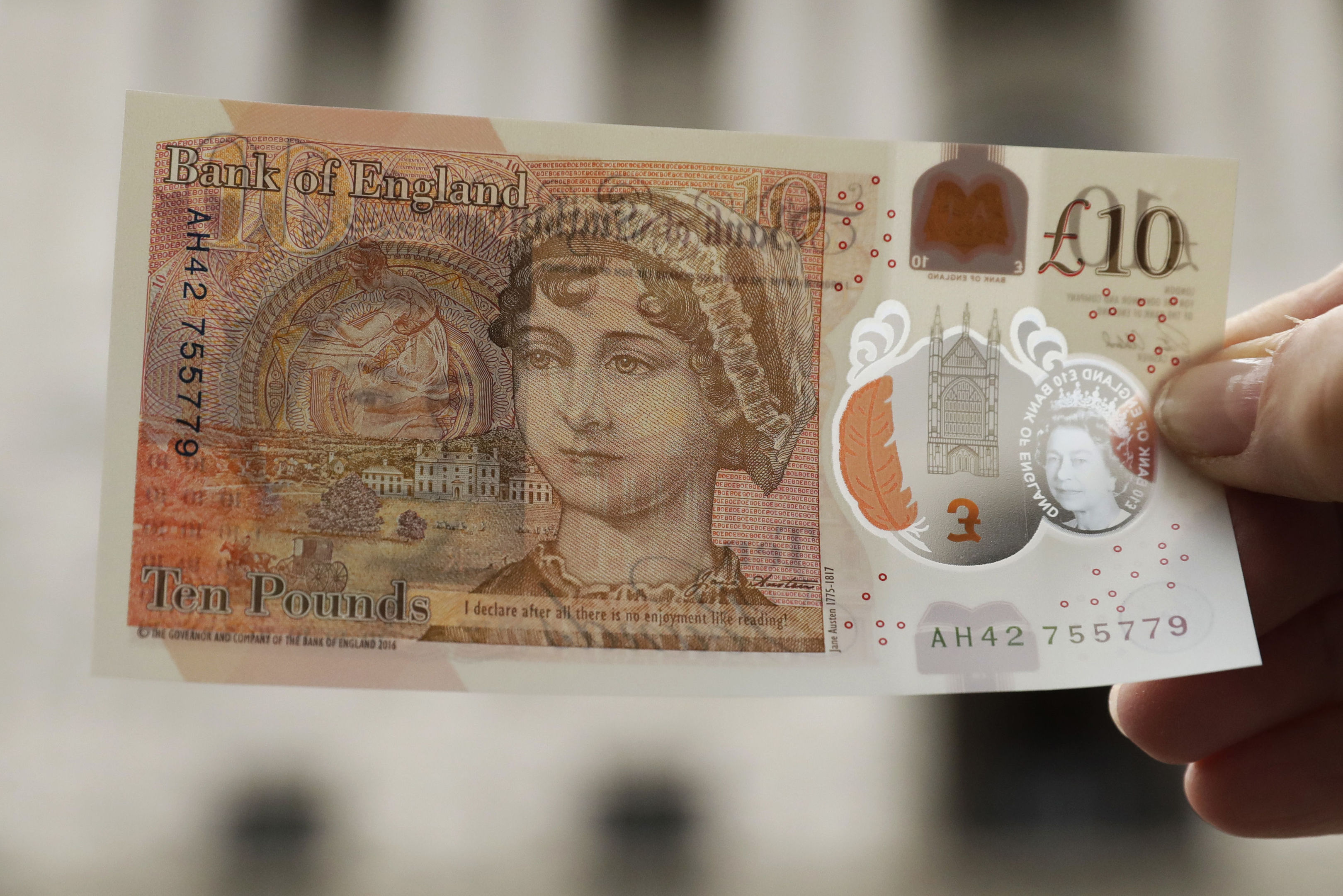 One of the new 10 pound notes (AP Photo/Matt Dunham)