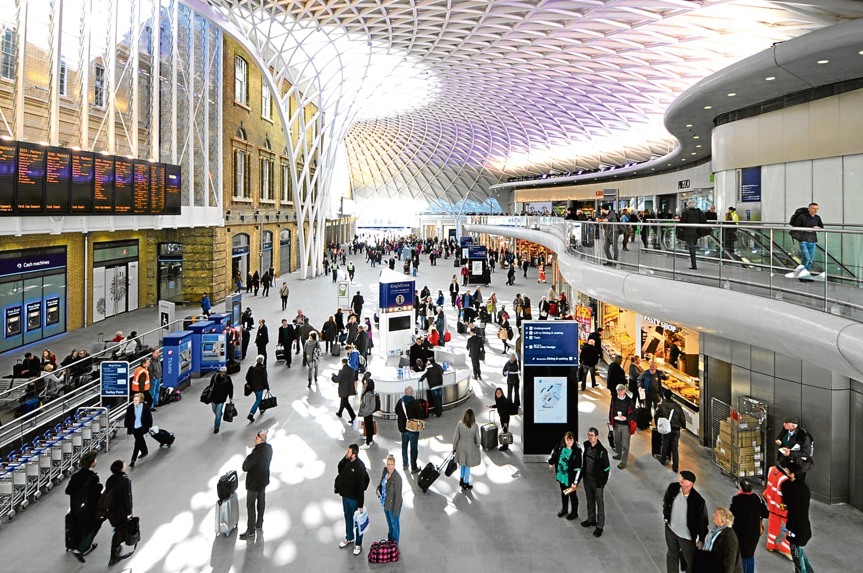 Kings Cross Railway Station departure concourse.