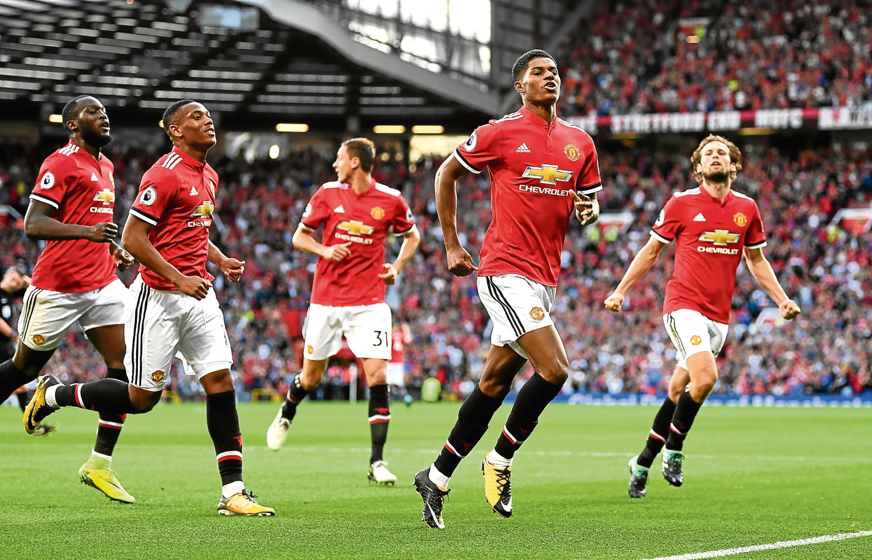 Marcus Rashford scores against Leicester (Michael Regan/Getty Images)