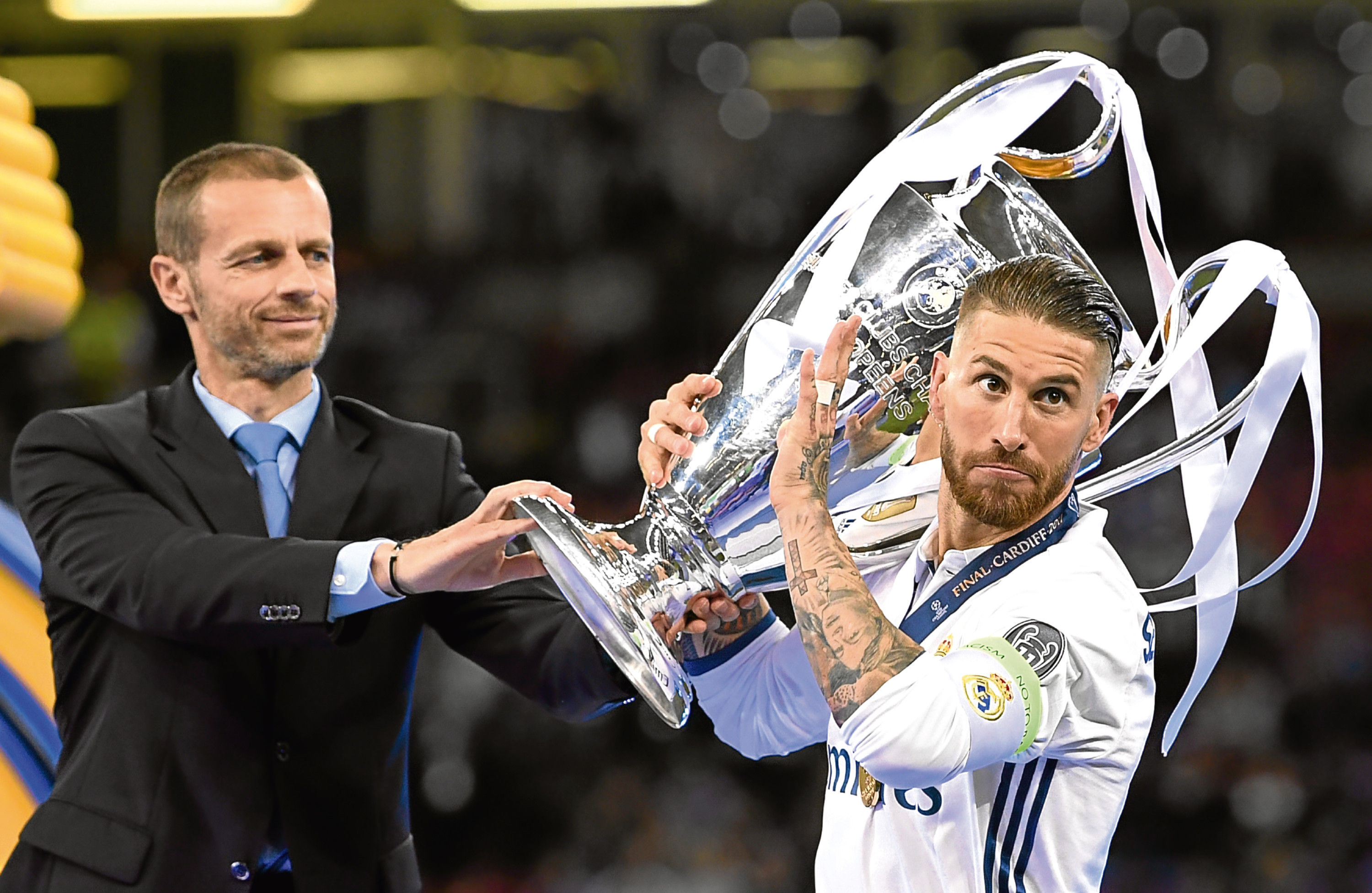 Sergio Ramos lifts the Champions League trophy (Getty Images)