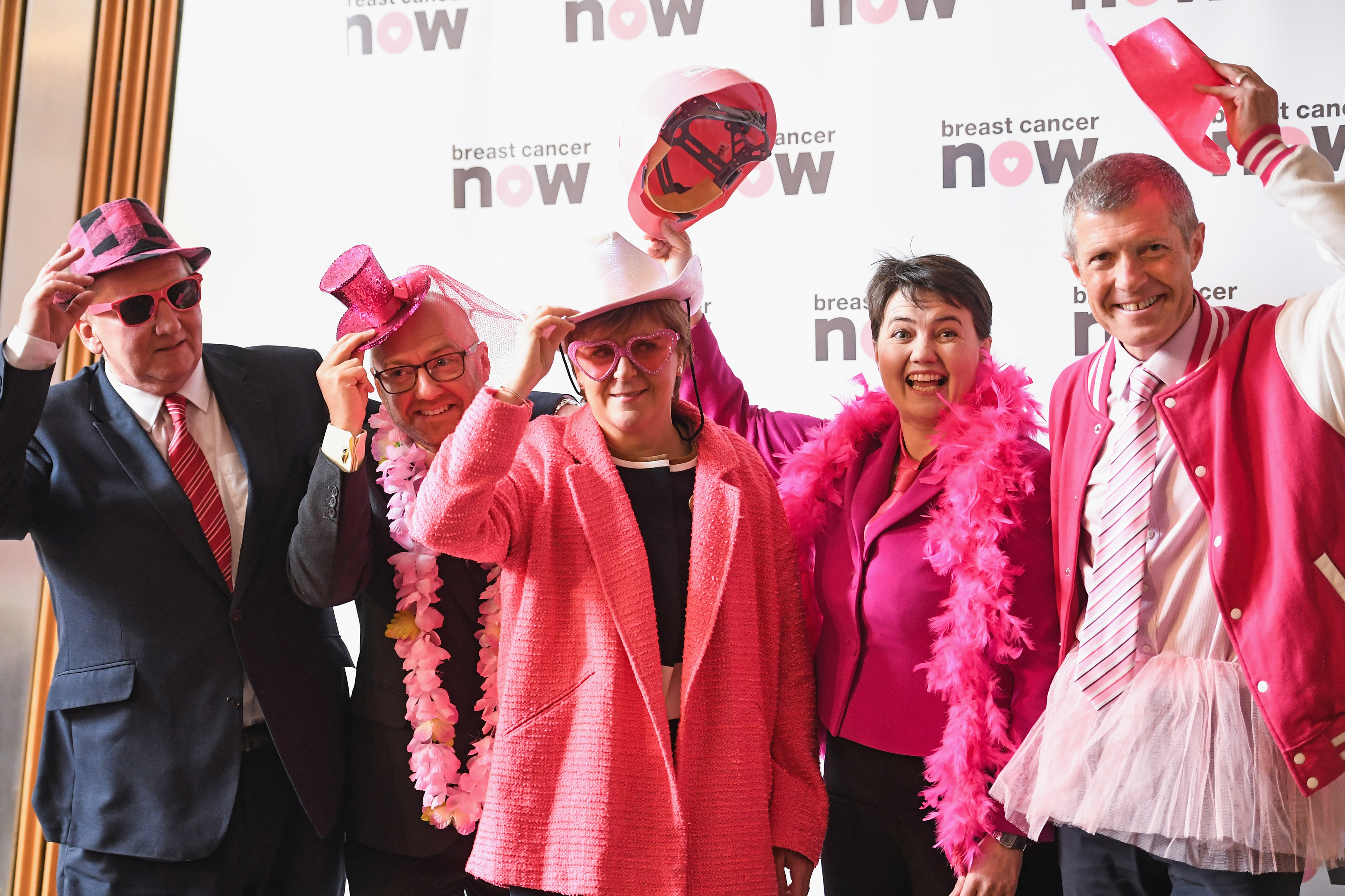 Holyrood party leaders Wear It Pink ( Jeff J Mitchell/Getty Images)