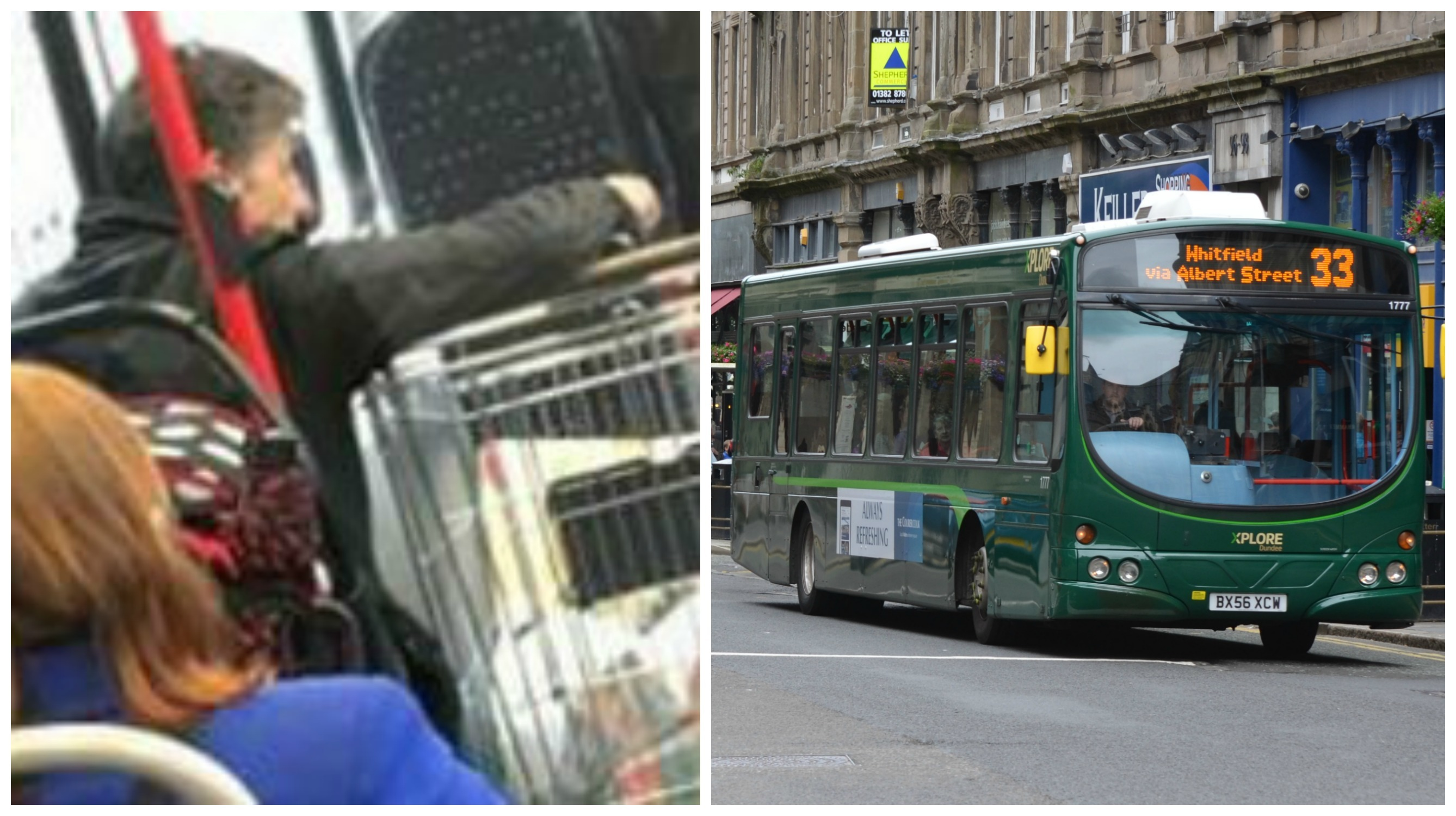 A man was pictured with a trolley on an Xplore Dundee bus