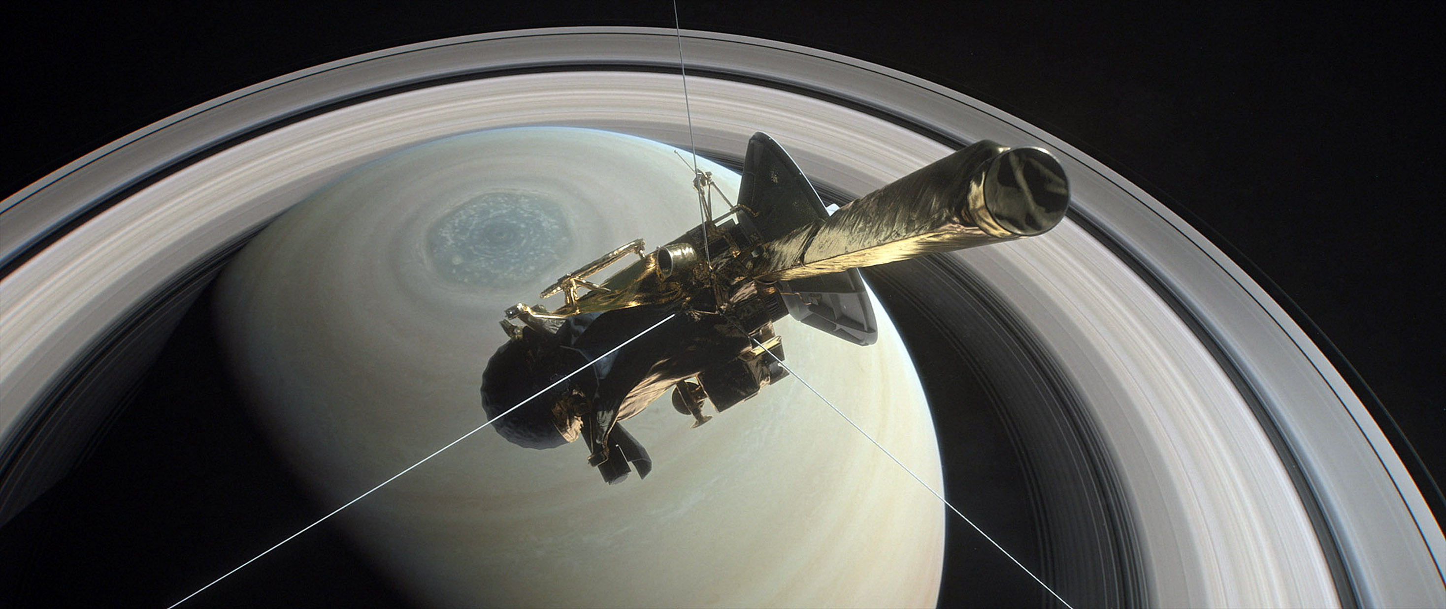 The 22ft long probe is near the end of a one-way trip from Saturn's largest moon Titan, whose gravity was used to nudge it on to its fatal trajectory. (NASA/PA Wire)