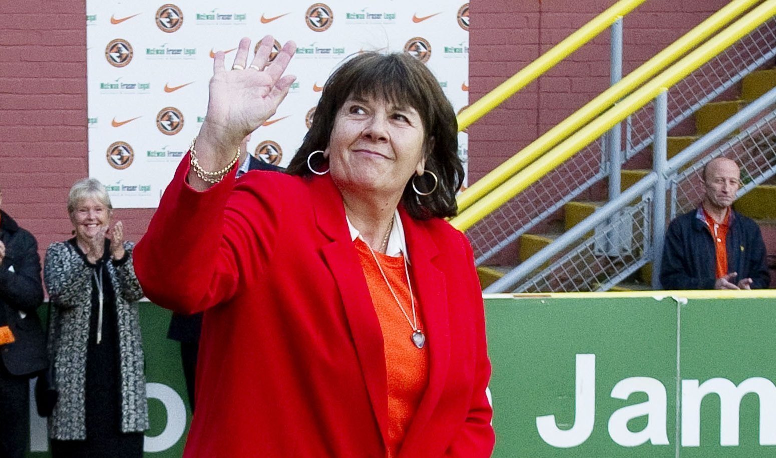 Amanda Kopel, widow of Dundee United player Frank Kopel addresses the fans at half-time at Tannadice (SNS Group)