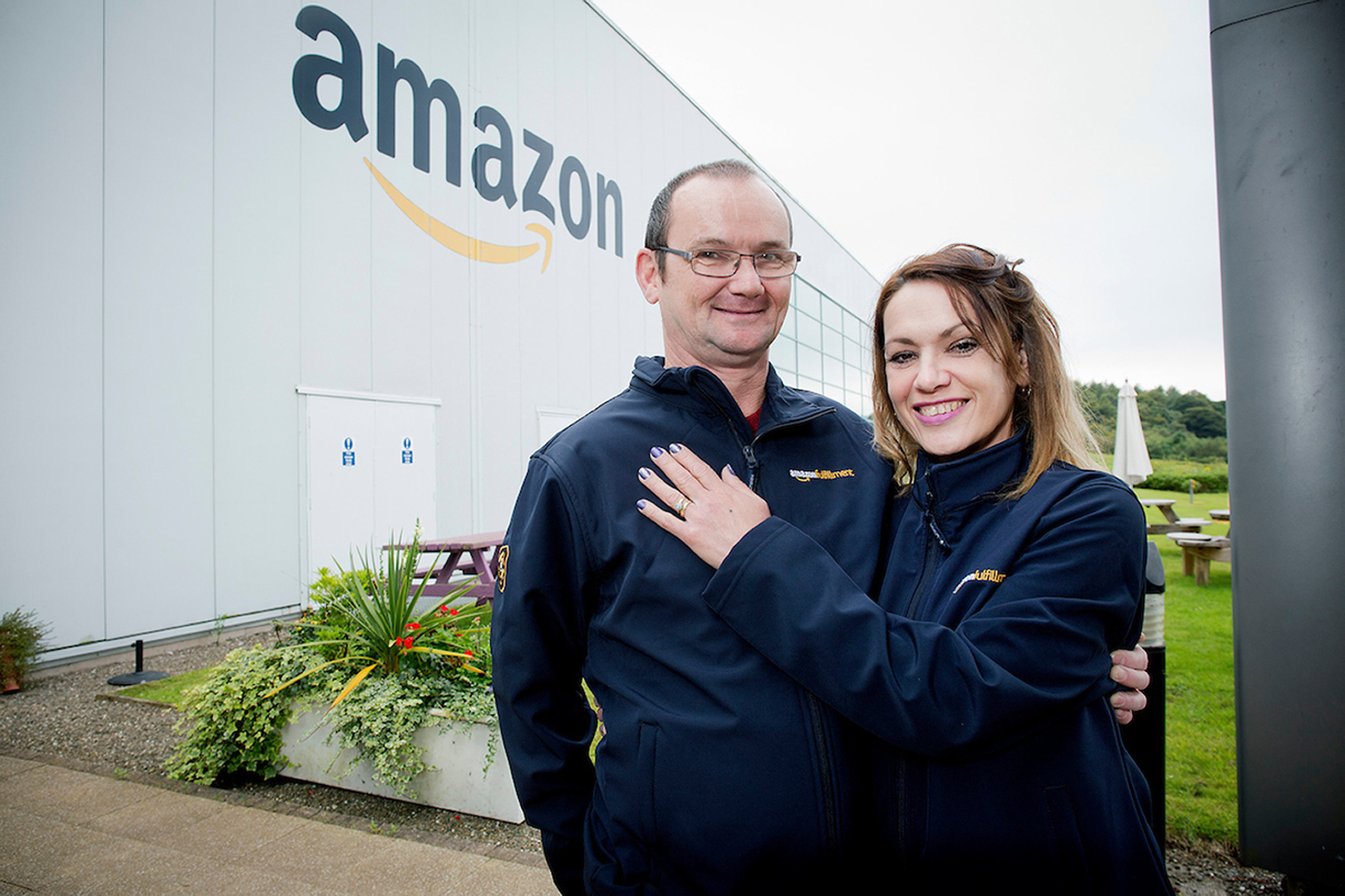 Amazon worker Tatiana Fernandez and fiance Stuart O'Neil, as the bride-to-be has been reunited with her engagement ring (Marc Turner/UNP/PA Wire)