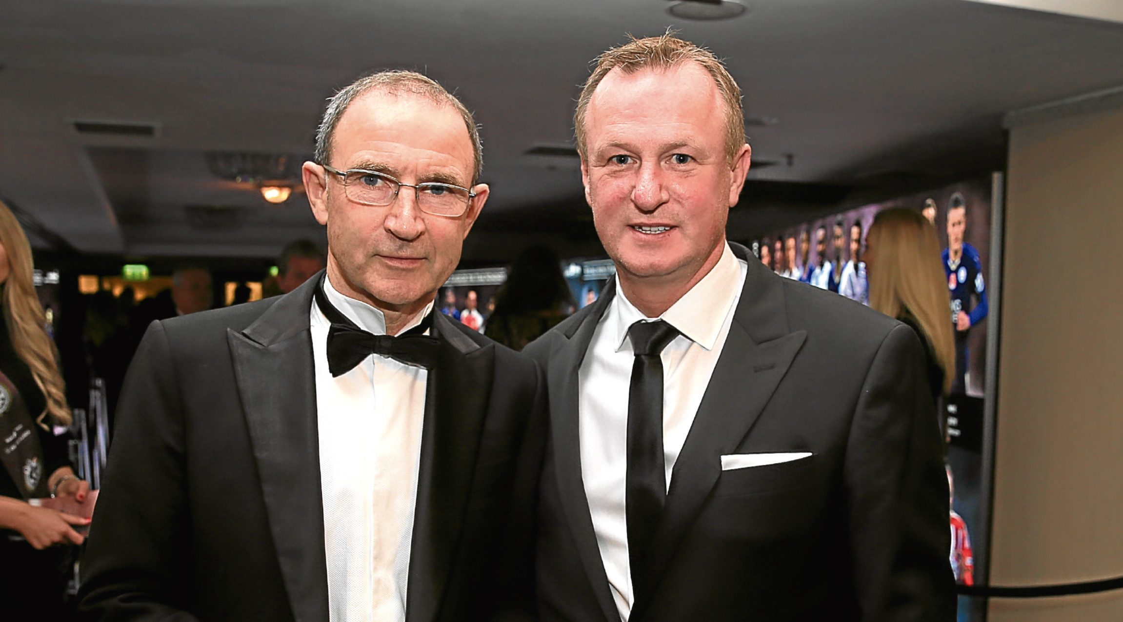 Republic of Ireland manager Martin O'Neill (left) and Northern Ireland manager Michael O'Neill (right) during the PFA Awards at the Grosvenor House Hotel, London.