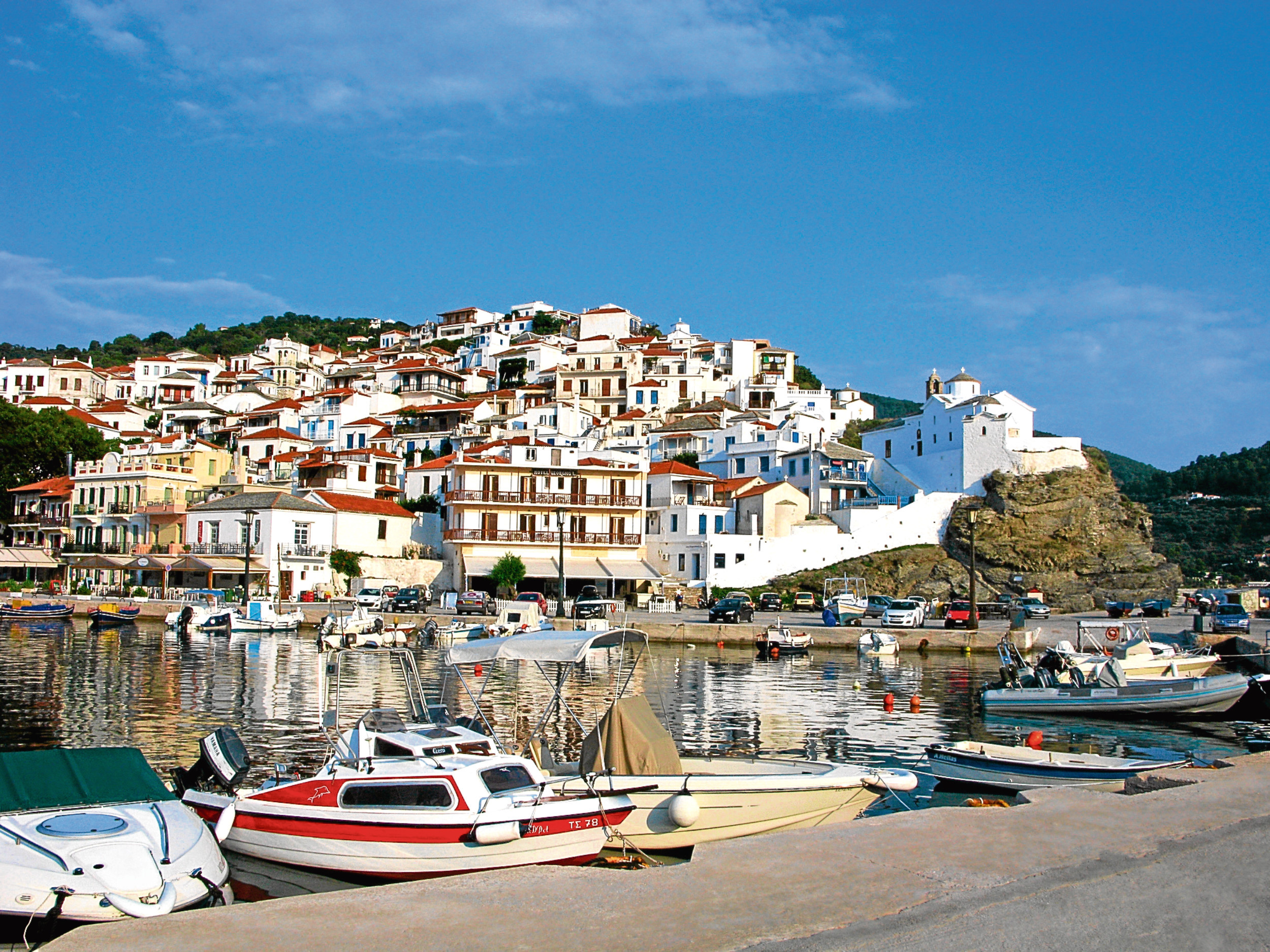 Skopelos town. View of the town from port. Skopelos island, Northern Sporades, Greece. (iStock)
