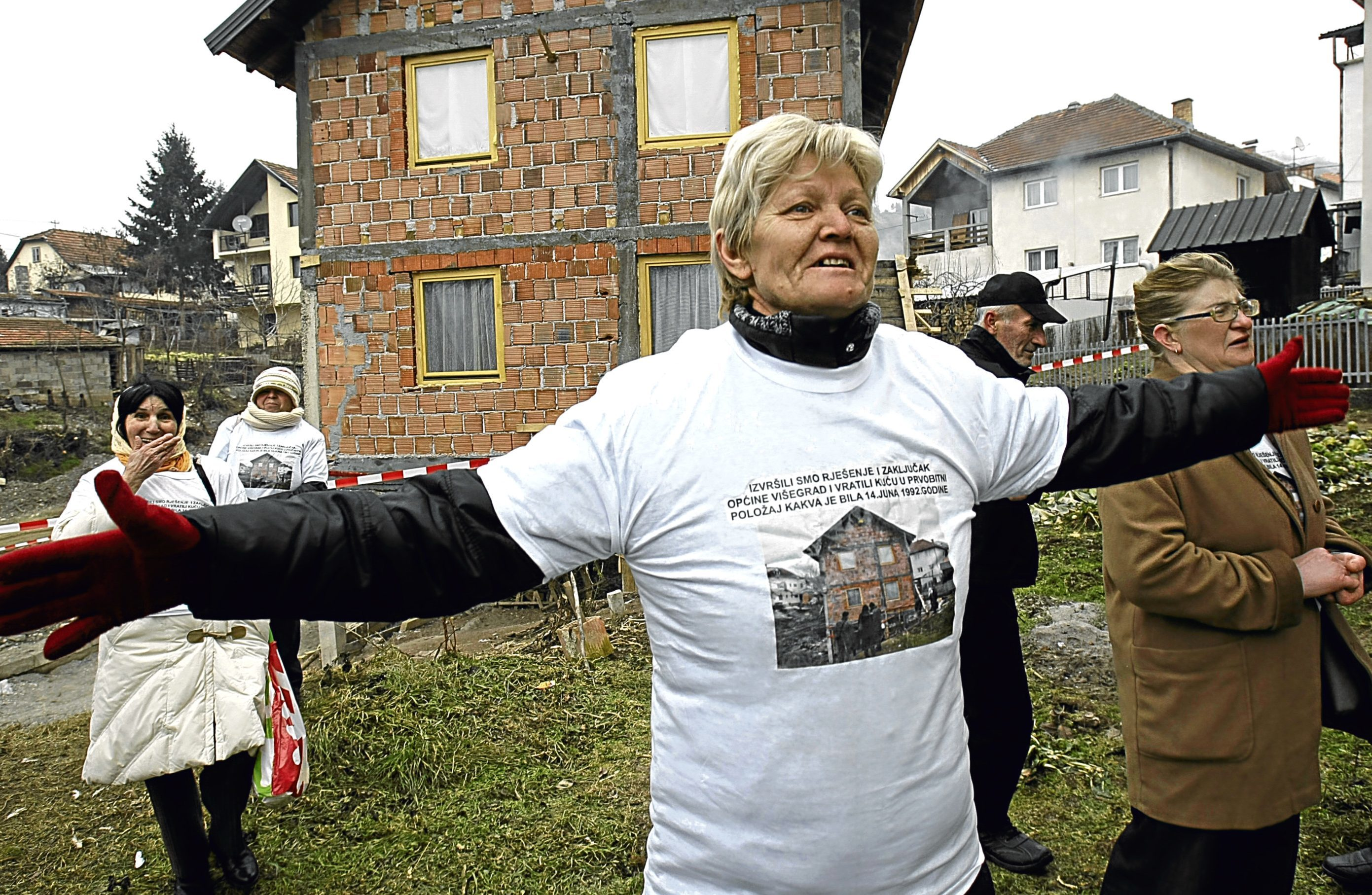 Bakira Hasecic campaigns against destruction of home in Visegrad, where more than 50 Muslims were killed in 1992 (Amel Emric/AP/REX/Shutterstock)