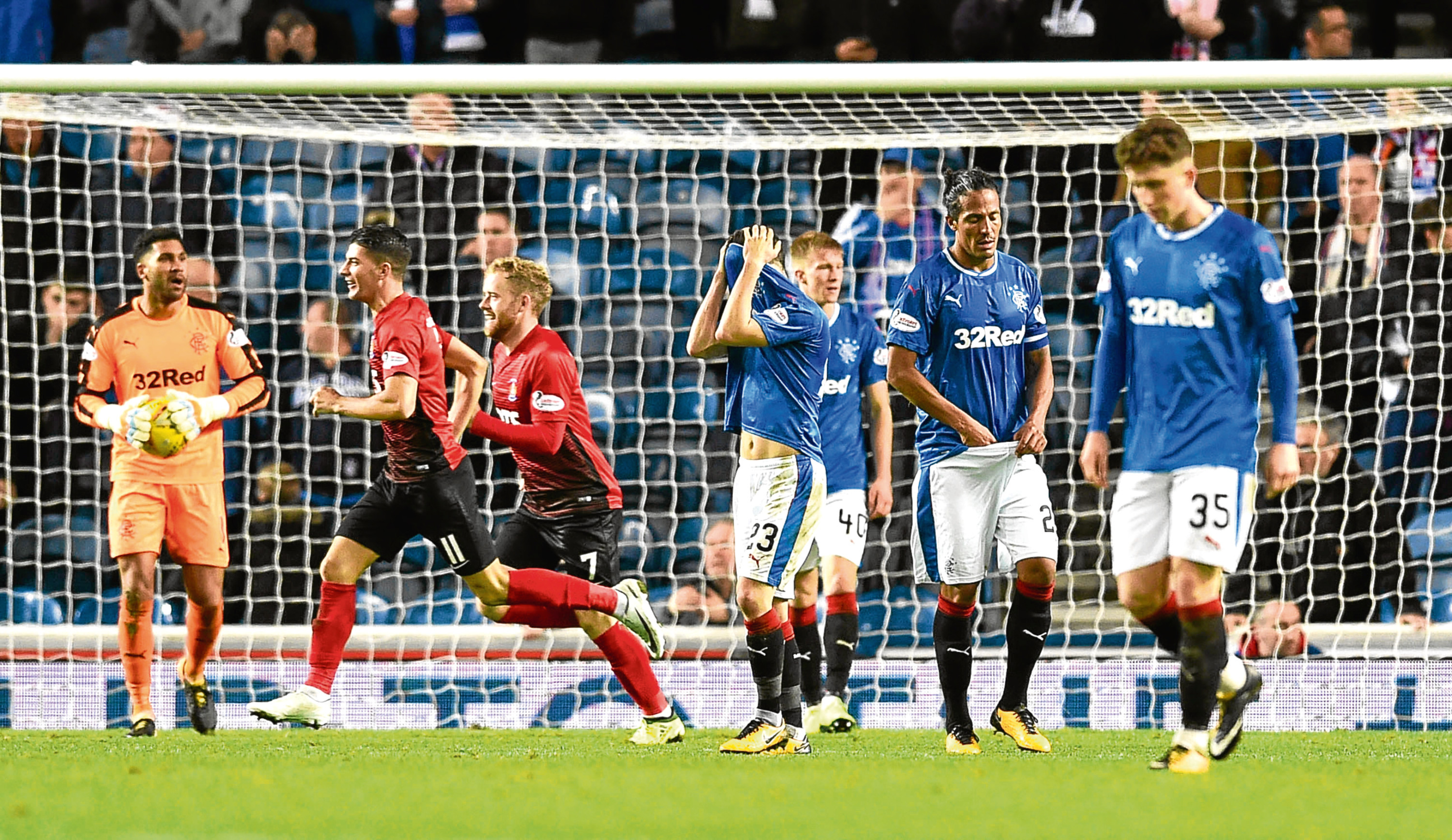 Rangers players left dejected after Kilmarnock's equaliser (SNS)