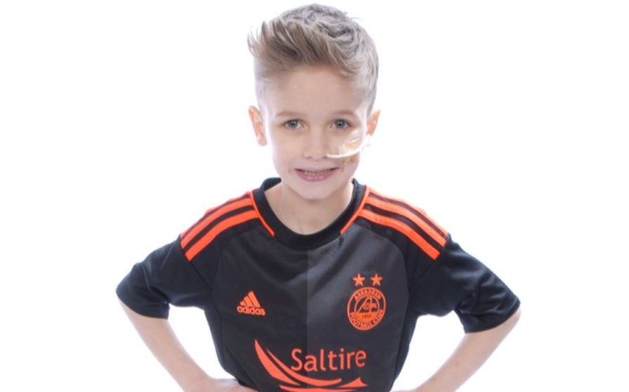 Little Ashton Hutcheson in the kit of his beloved Aberdeen