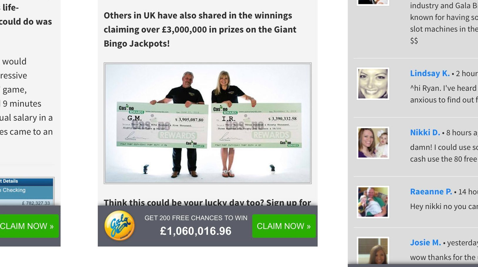 The online bingo site advert has been banned for suggesting that gambling could provide an escape from depression and a way of paying off debt and medical bills. (ASA/PA Wire)