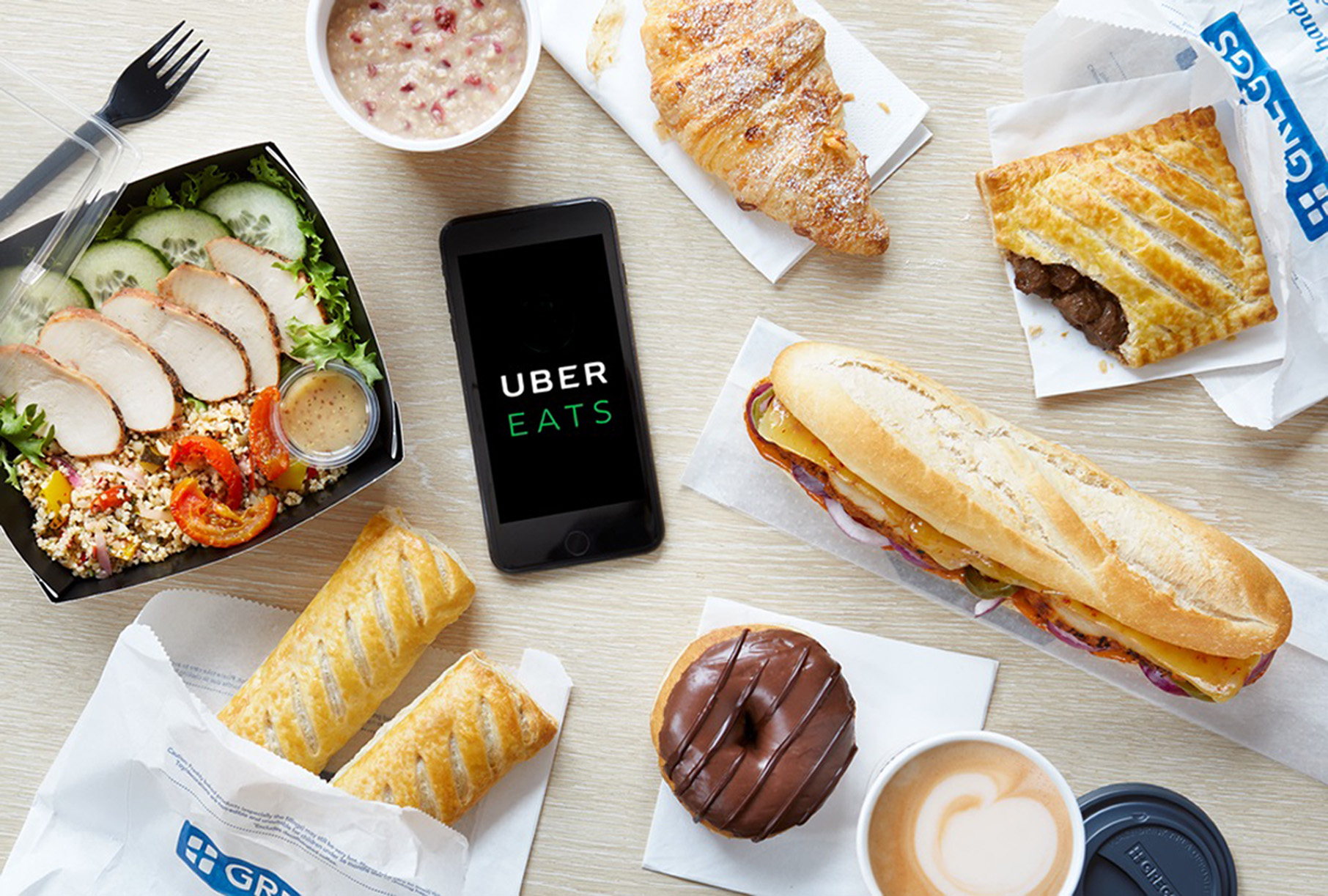 Greggs has teamed up with the firm UberEATS to offer the service through its app, offering delivery up to one mile away from participating shops. (Greggs/PA Wire)