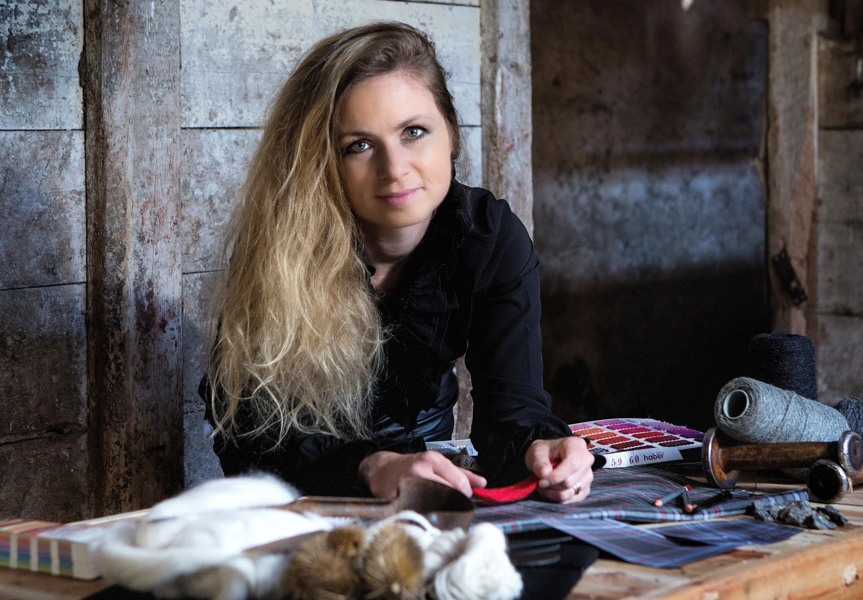 Clare Campbell, founder of a Highlands-based bespoke tartan design studio.