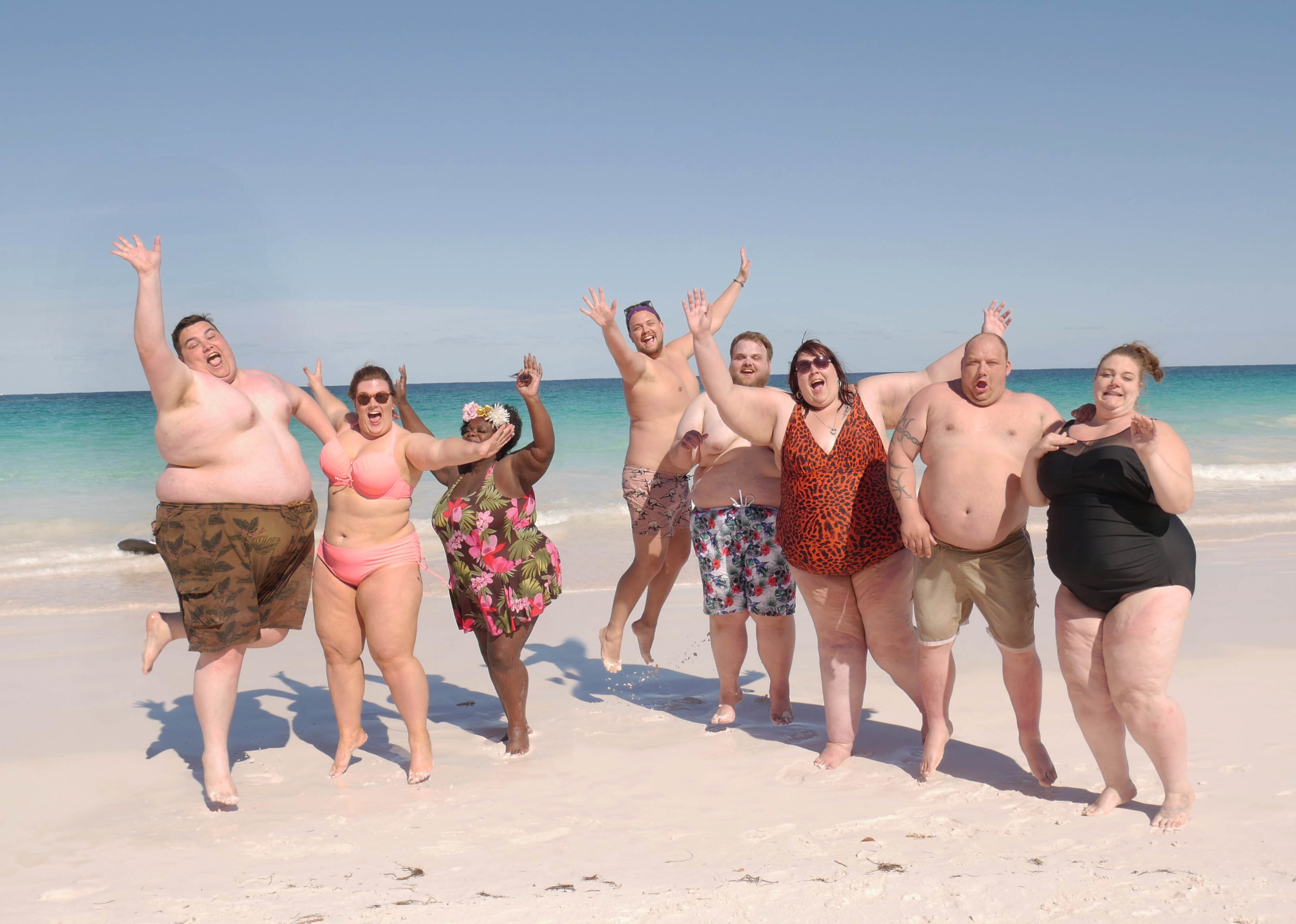 Steven, Holly, Sandra, David, Dane, Alice, Adam and Ami bare their bodies on the beach (Spungold, Peter Gray)