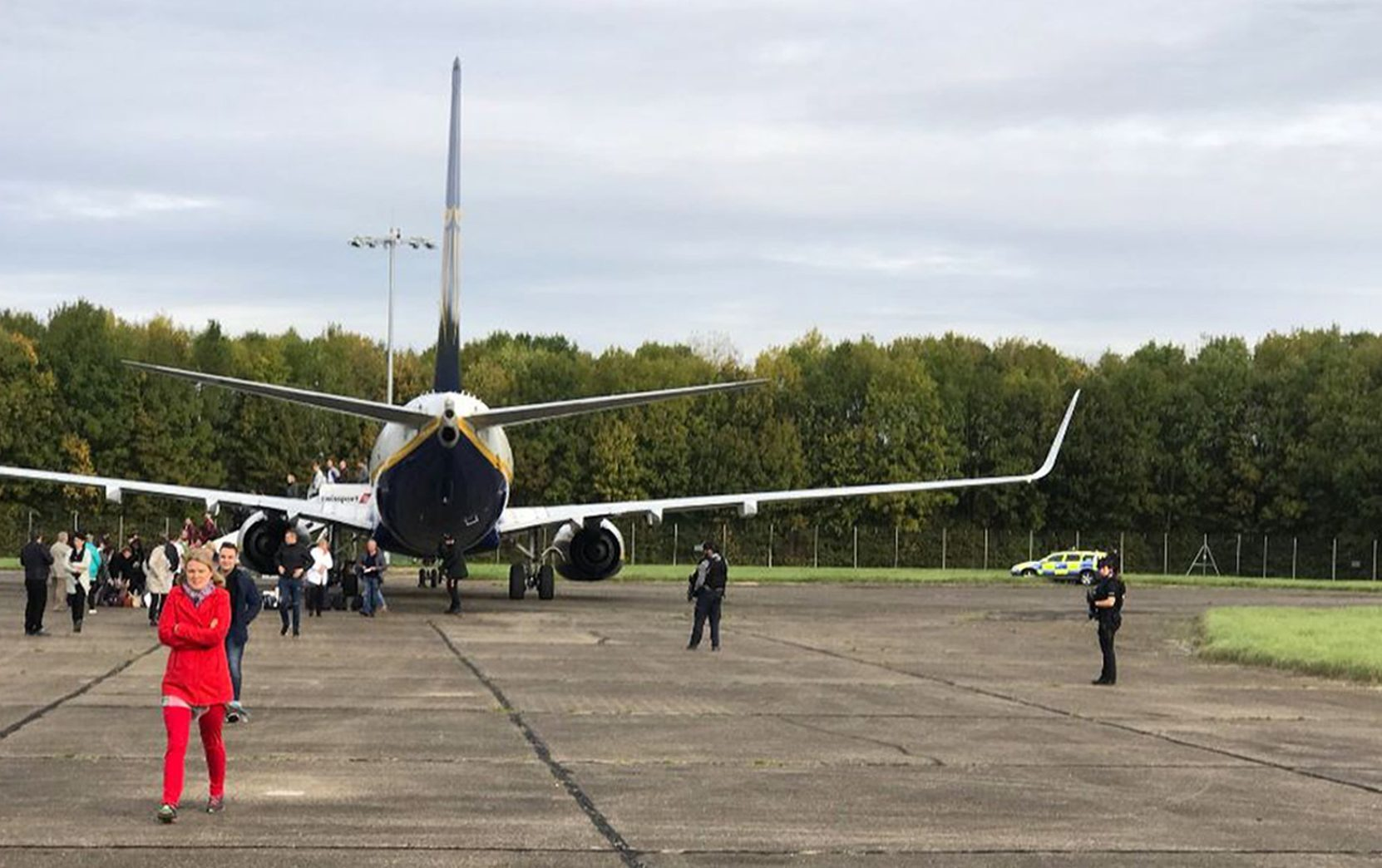 The Ryanair jet on the tarmac at Stansted (Twitter @zulu_wooloo/PA Wire)