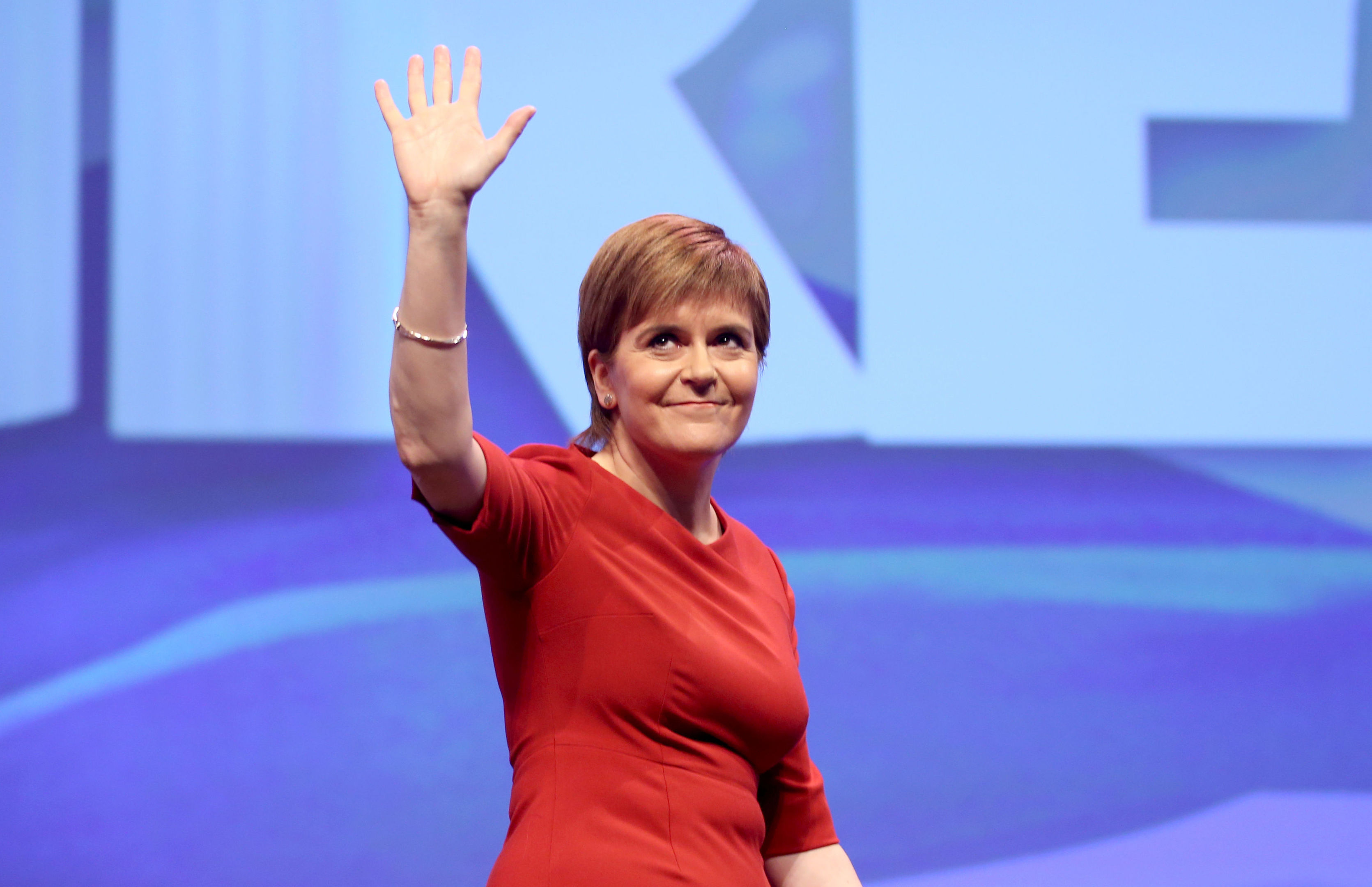 First Minister Nicola Sturgeon after delivering her keynote speech at the Scottish National Party conference at the SEC Centre in Glasgow. (Jane Barlow/PA Wire)