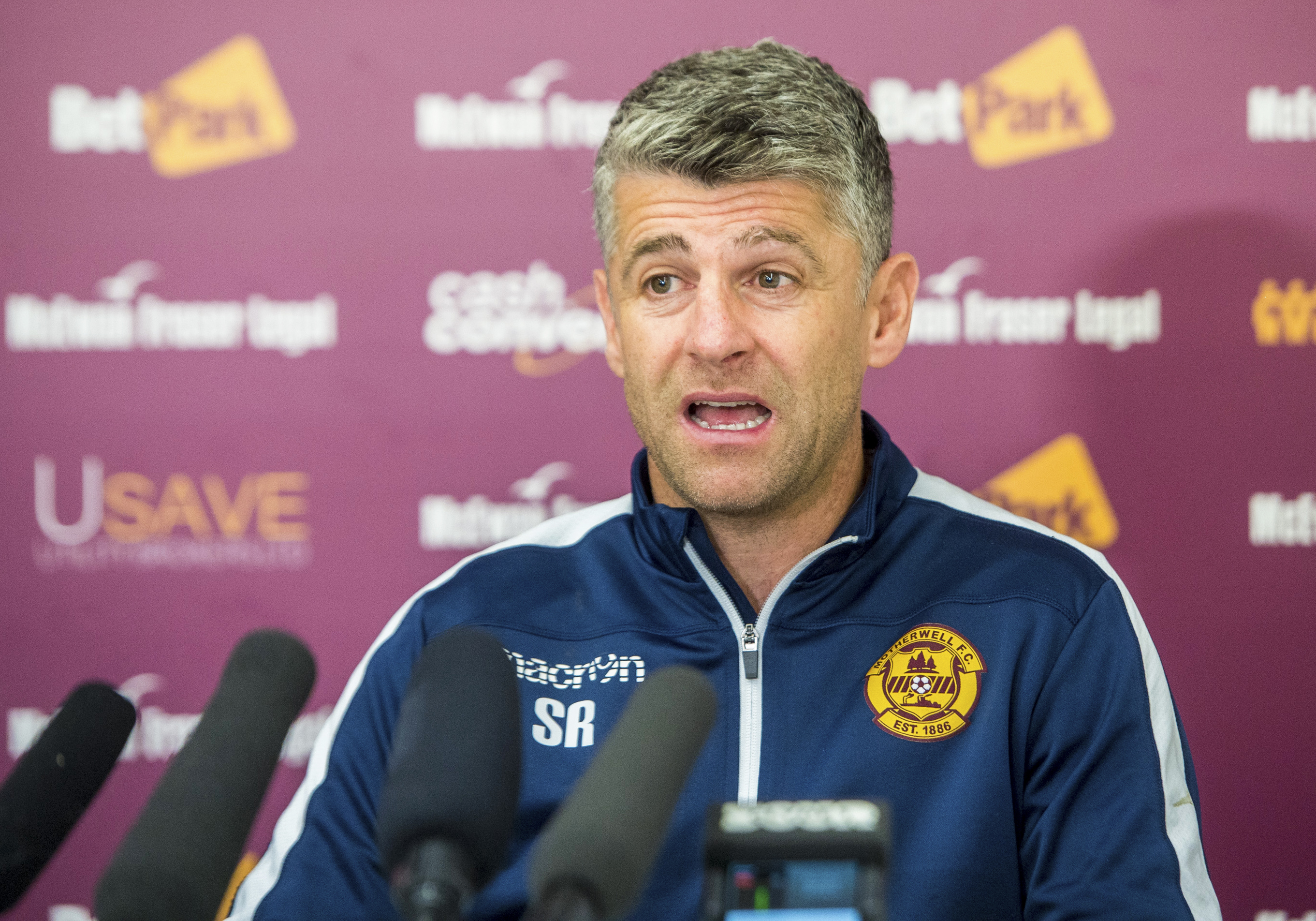 Motherwell Manager Stephen Robinson speaks to the media ahead of Sunday's Betfred Cup Semi Final against Rangers. (SNS)