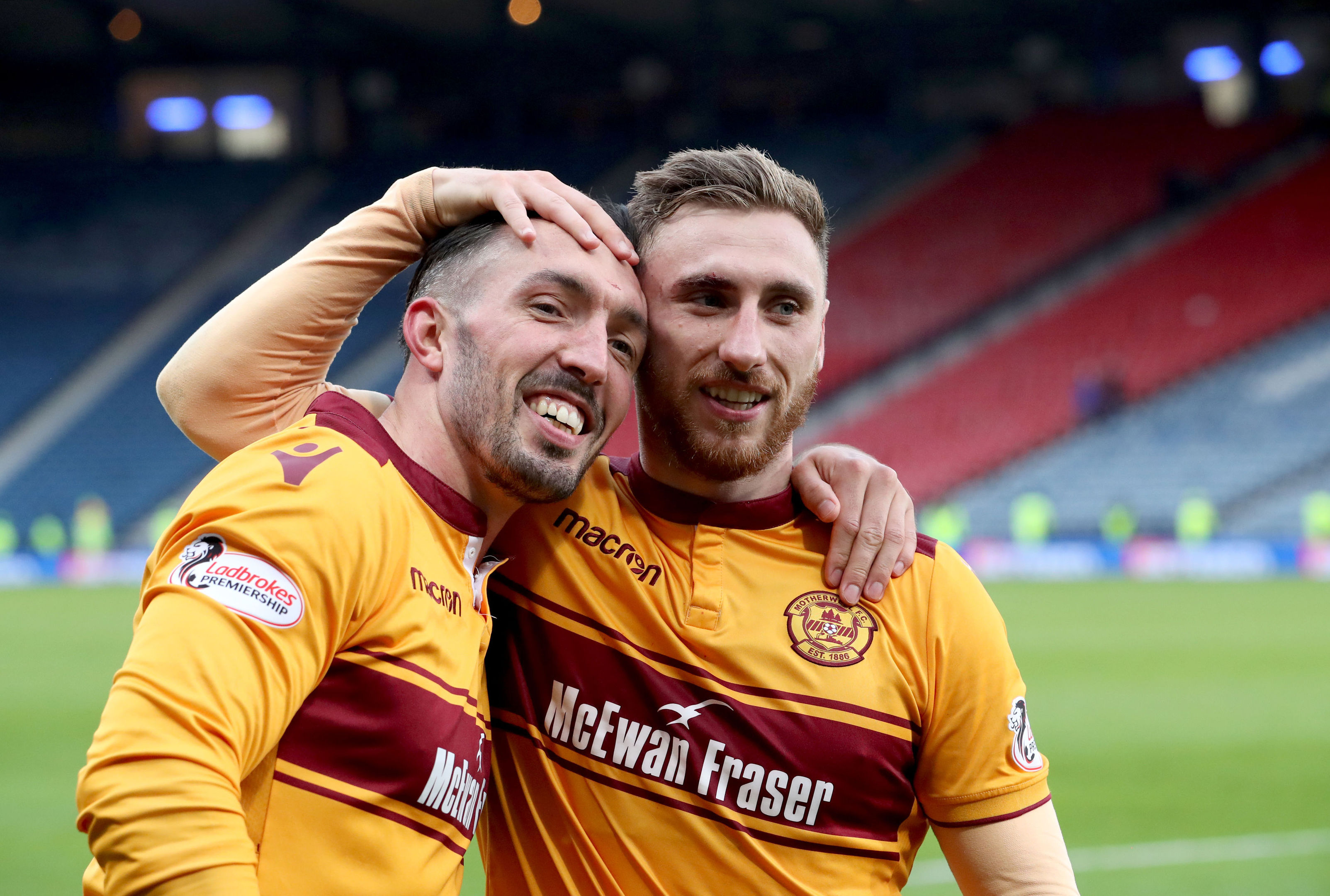 Motherwell's Ryan Bowman (left) and Louis Moult celebrate (Jane Barlow/PA Wire)