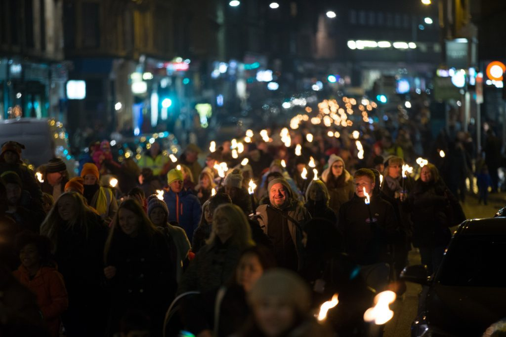 Last years' St. Andrew's Day torchlight parade in Glasgow's west end winding through Queen Margaret Drive, across Great Western Road and down Byres Road (Martin Shields)