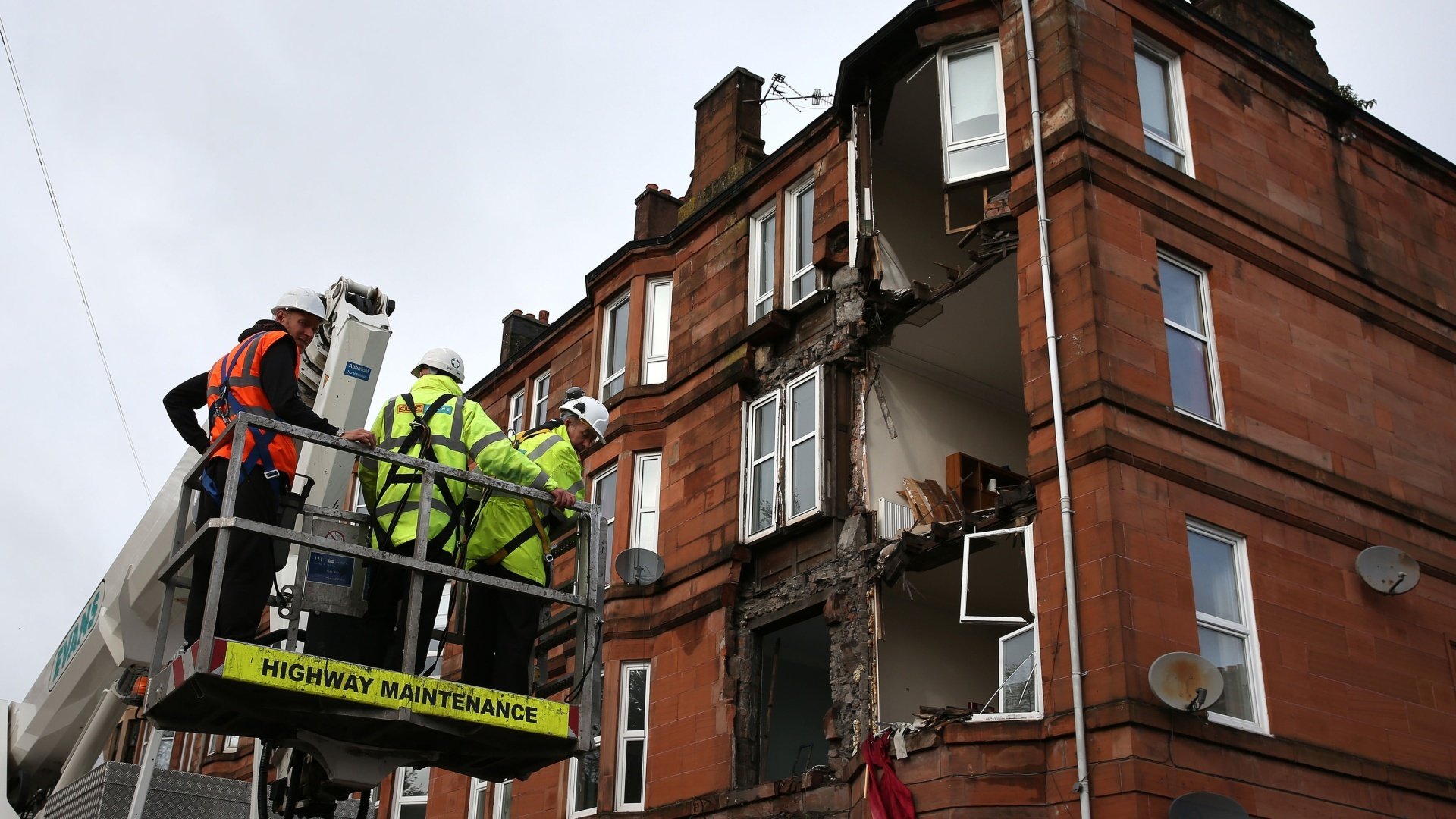 The block in the south side of Glasgow, which was earmarked for partial demolition, came down at about 4am on Tuesday as the storm passed over from Ireland (PA)