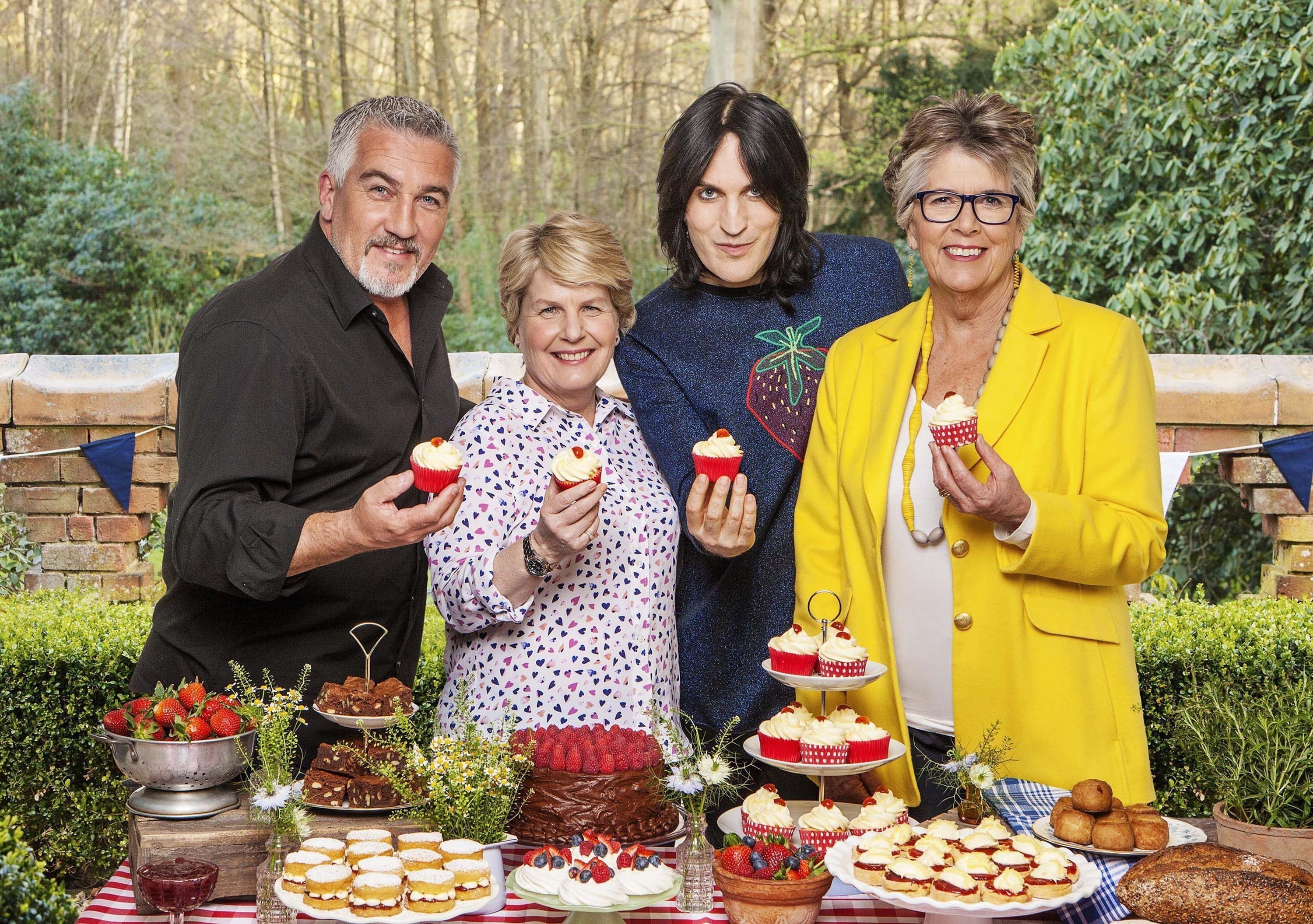 The Great British Bake Off stars Paul Hollywood, Sandi Toksvig, Noel Fielding and Prue Leith. (PA/Love Productions / Channel 4 / Mark Bourdillon.)