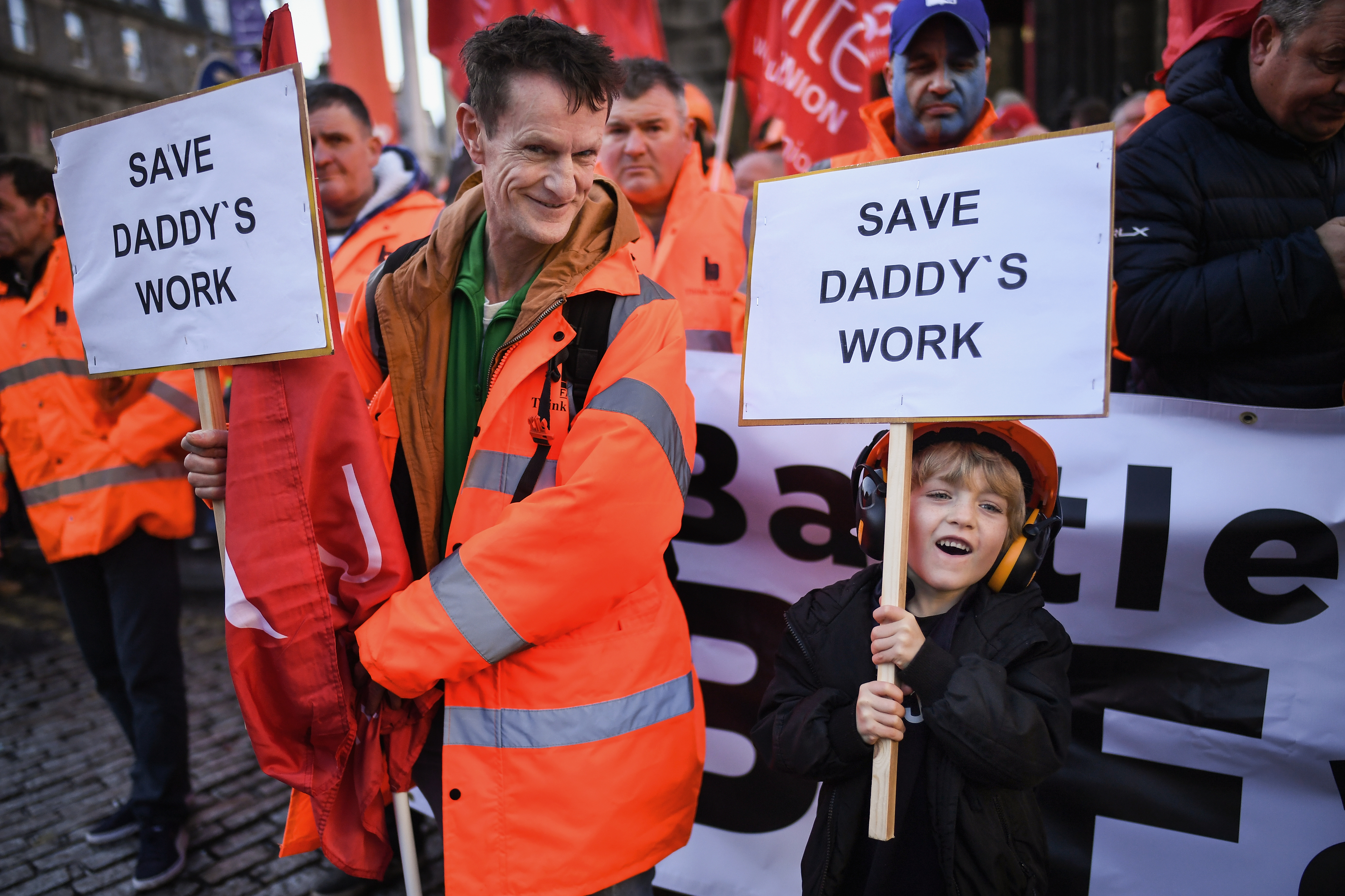 Workers from engineering firm BiFab hold a demonstration in Edinburgh (Jeff J Mitchell/Getty Images)