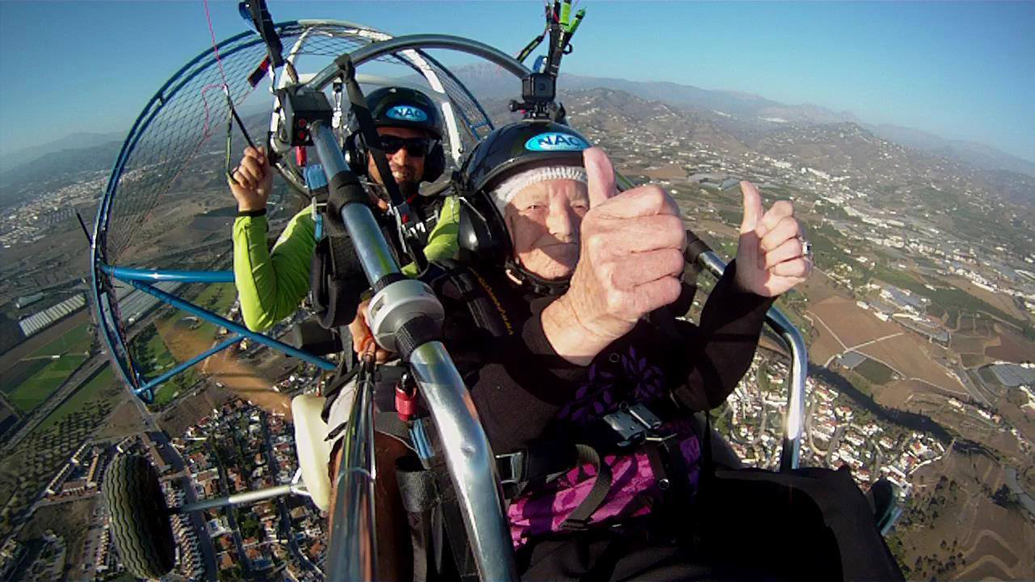 Connie Smith, 90, who went paragliding in southern Spain in aid of her favourite pet charity (PDSA/PA Wire)