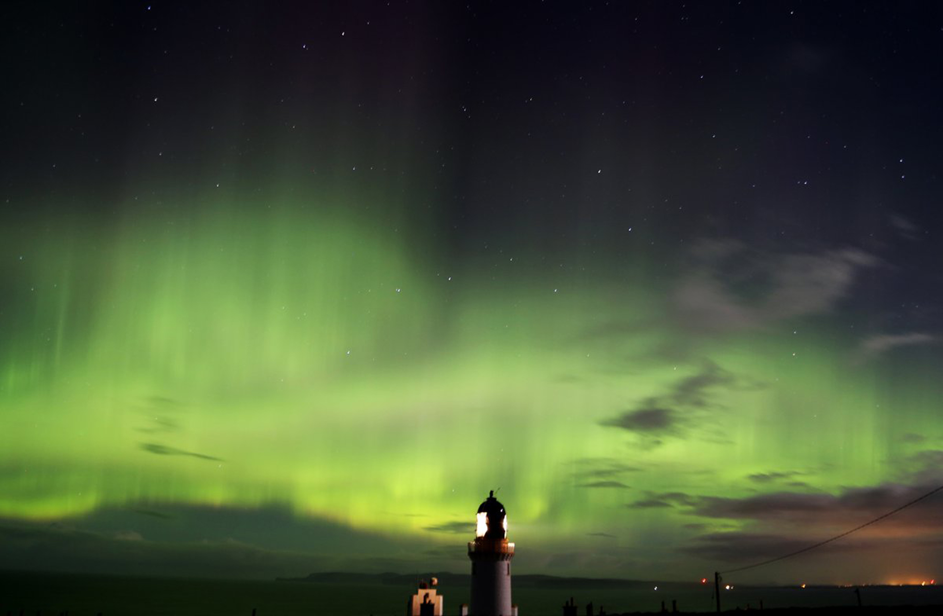 The Northern Lights at Dunnet Head in Scotland. (Sam Flice/PA Wire)