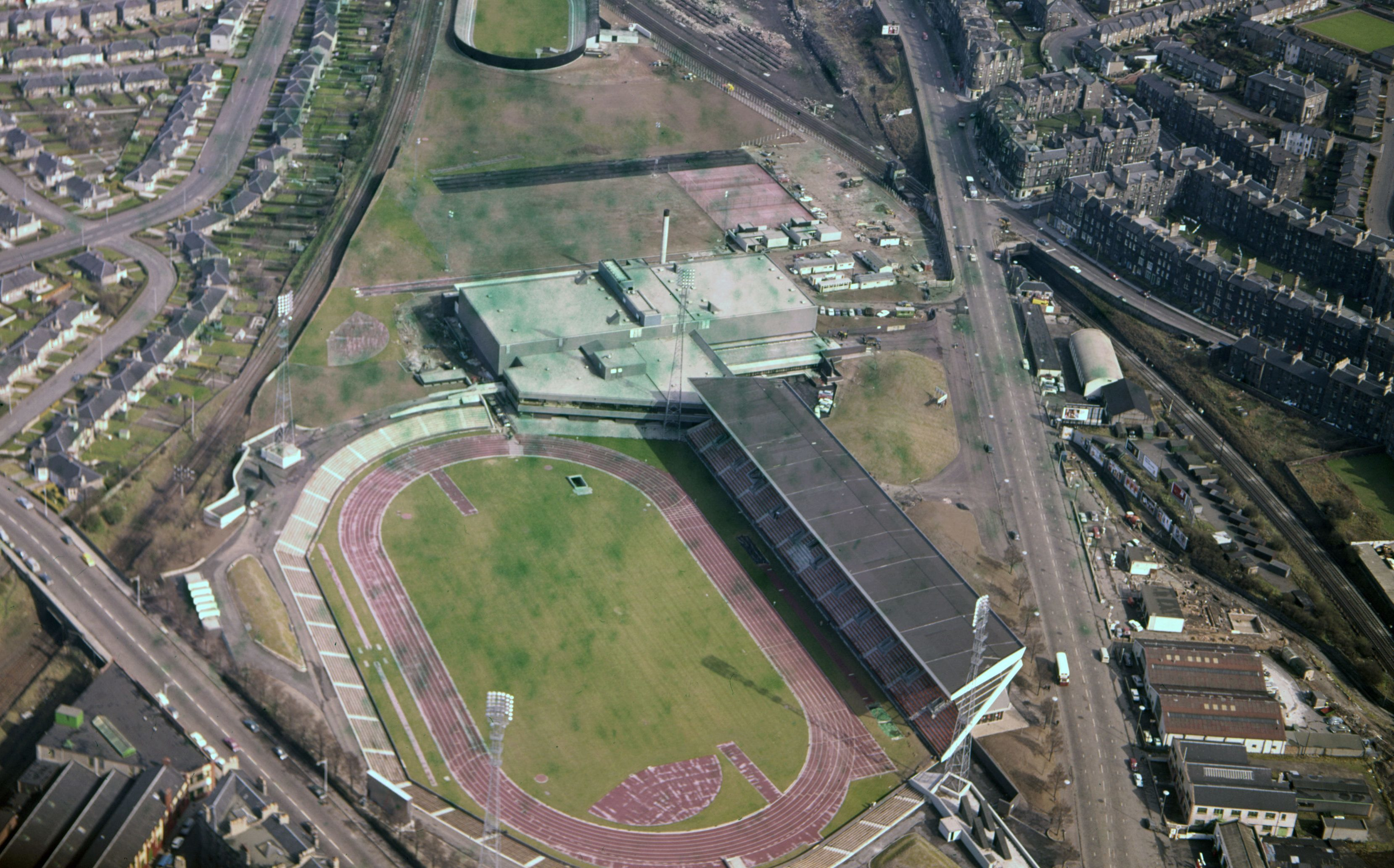 File photo dated 01/04/1970 of the then newly-built Meadowbank Stadium (bottom) and cycle track (top) in Edinburgh. (PA Wire)