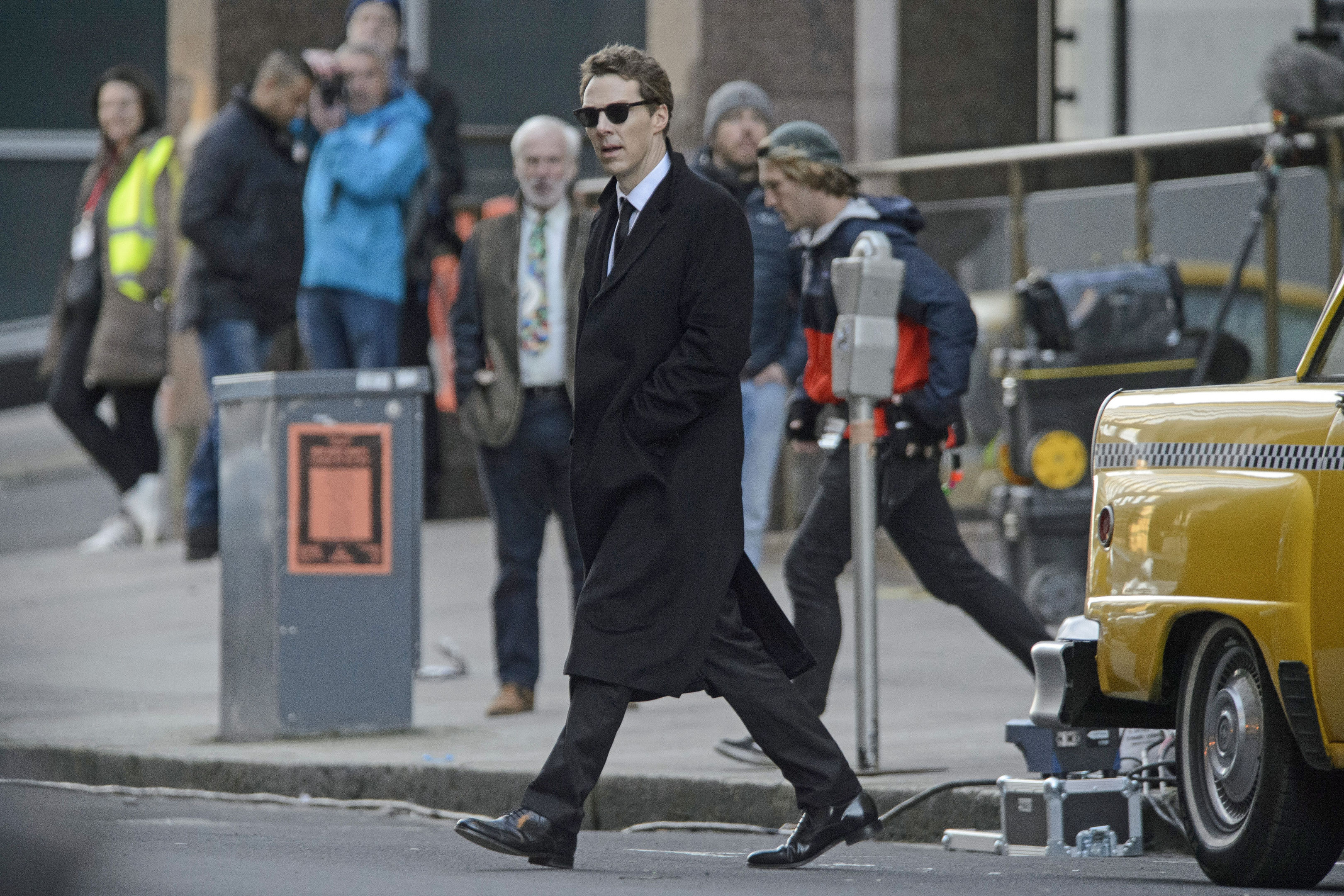 Actor Benedict Cumberbatch shooting scenes in Glasgow which was transformed into New York City for filming of the TV show Melrose. (John Linton/PA Wire)