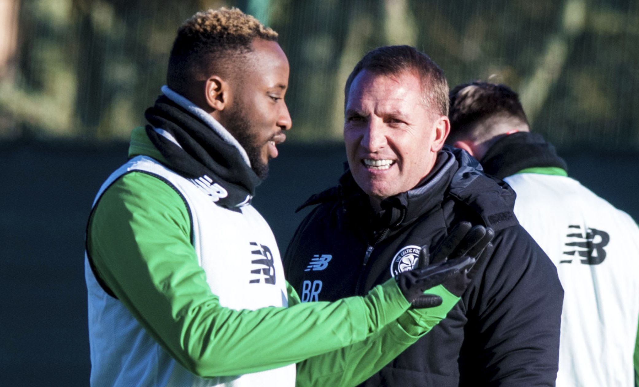 Celtic manager Brendan Rodgers (right) with Moussa Dembele (SNS Group / Alan Harvey)