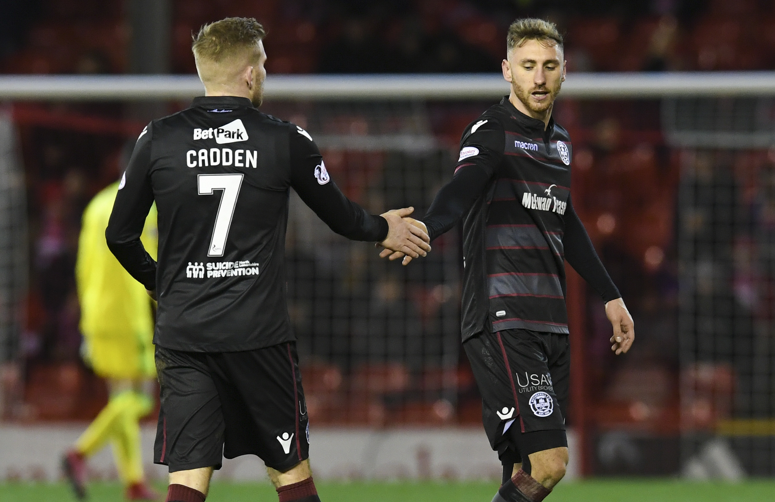 Motherwell's Chris Cadden and Louis Moult celebrate at full-time (SNS)