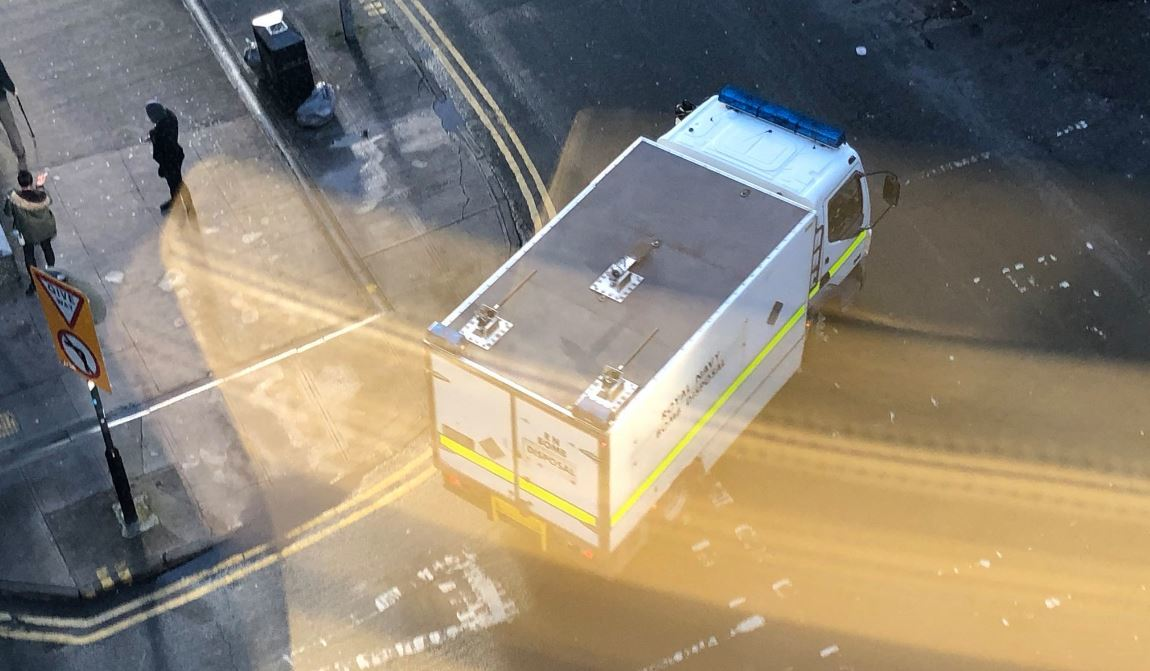 A bomb disposal unit outside the office block