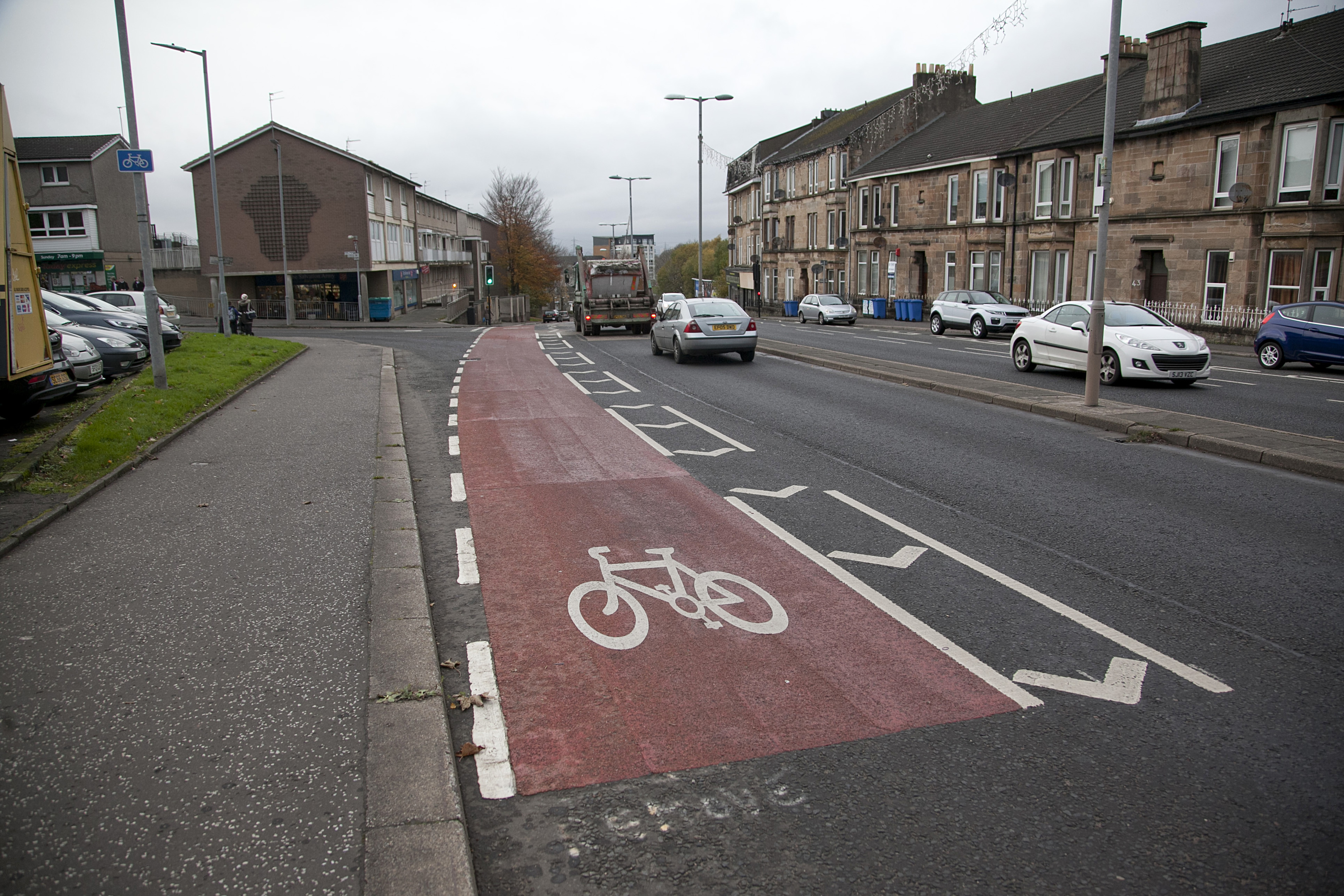 A controversial cycle lane in Cambuslang's Main Street which cost the local authority almost £325,000 (Alistair Linford)