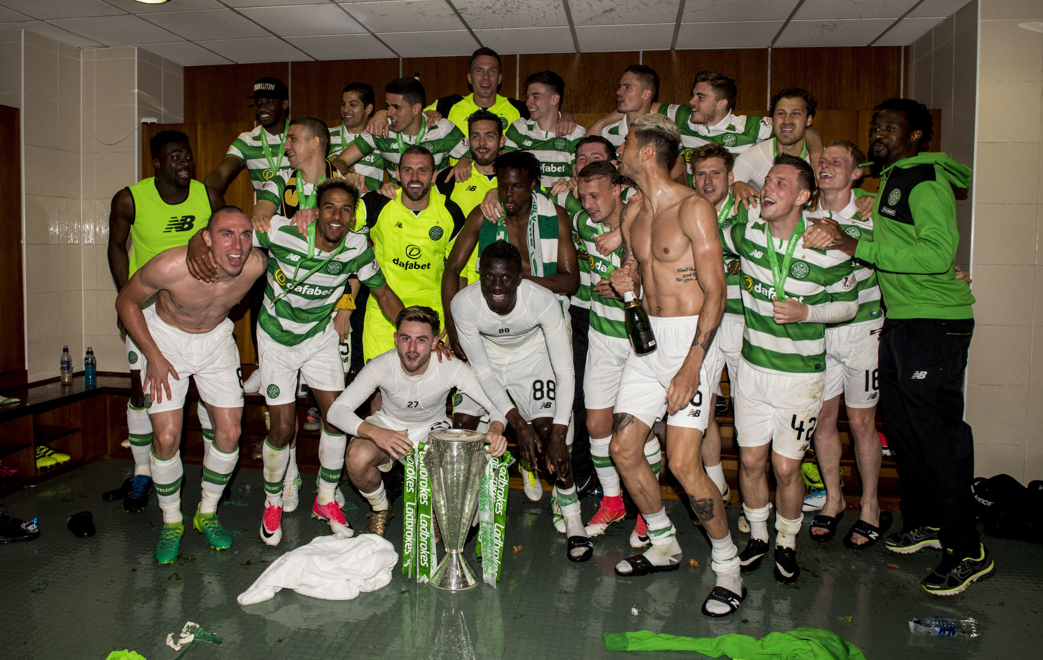 Celtic celebrate another Premiership title inside the home dressing room at Celtic Park back in May (SNS Group / Craig Williamson)