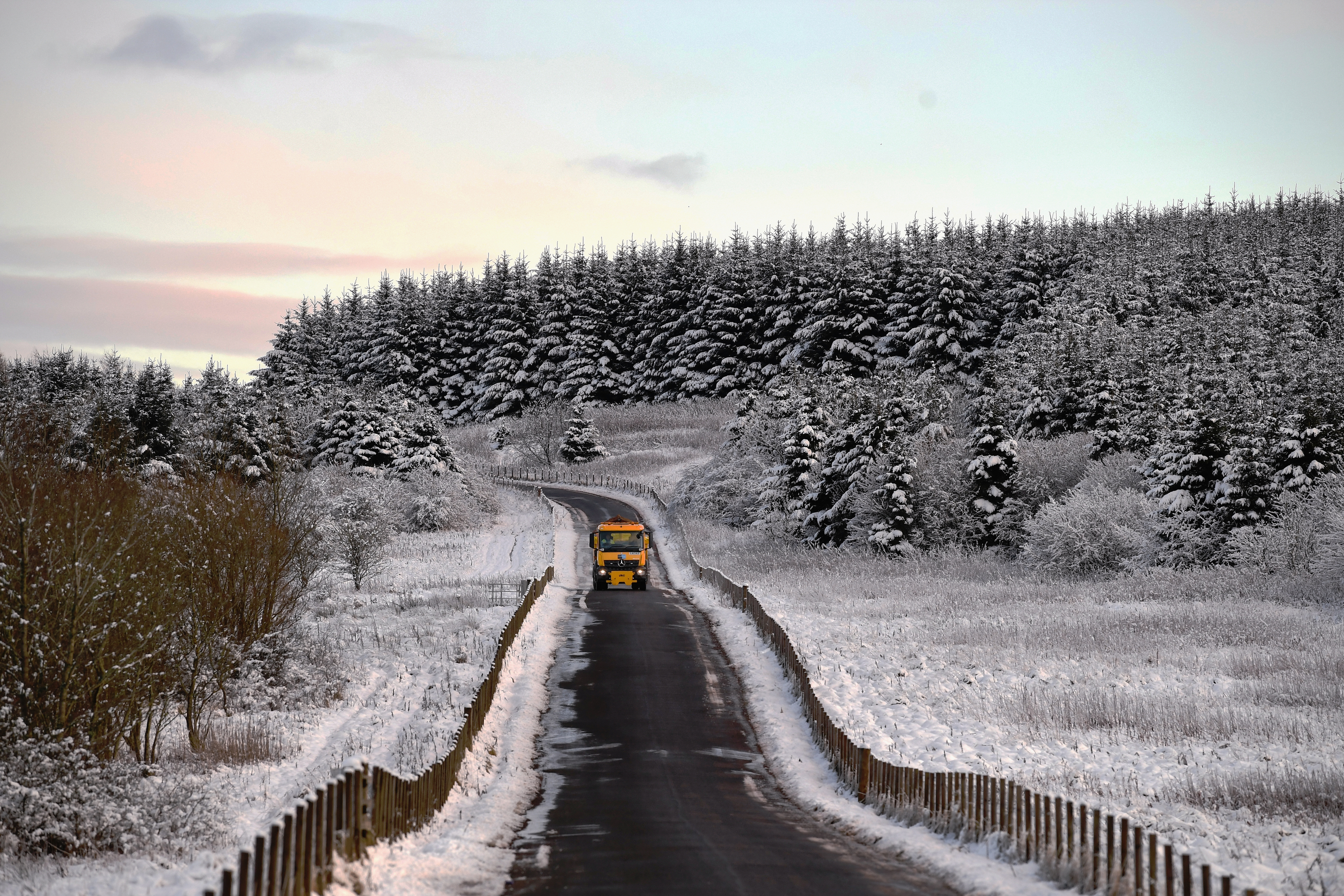 A gritter hits the roads in South Lanarkshire (Jeff J Mitchell/Getty Images)