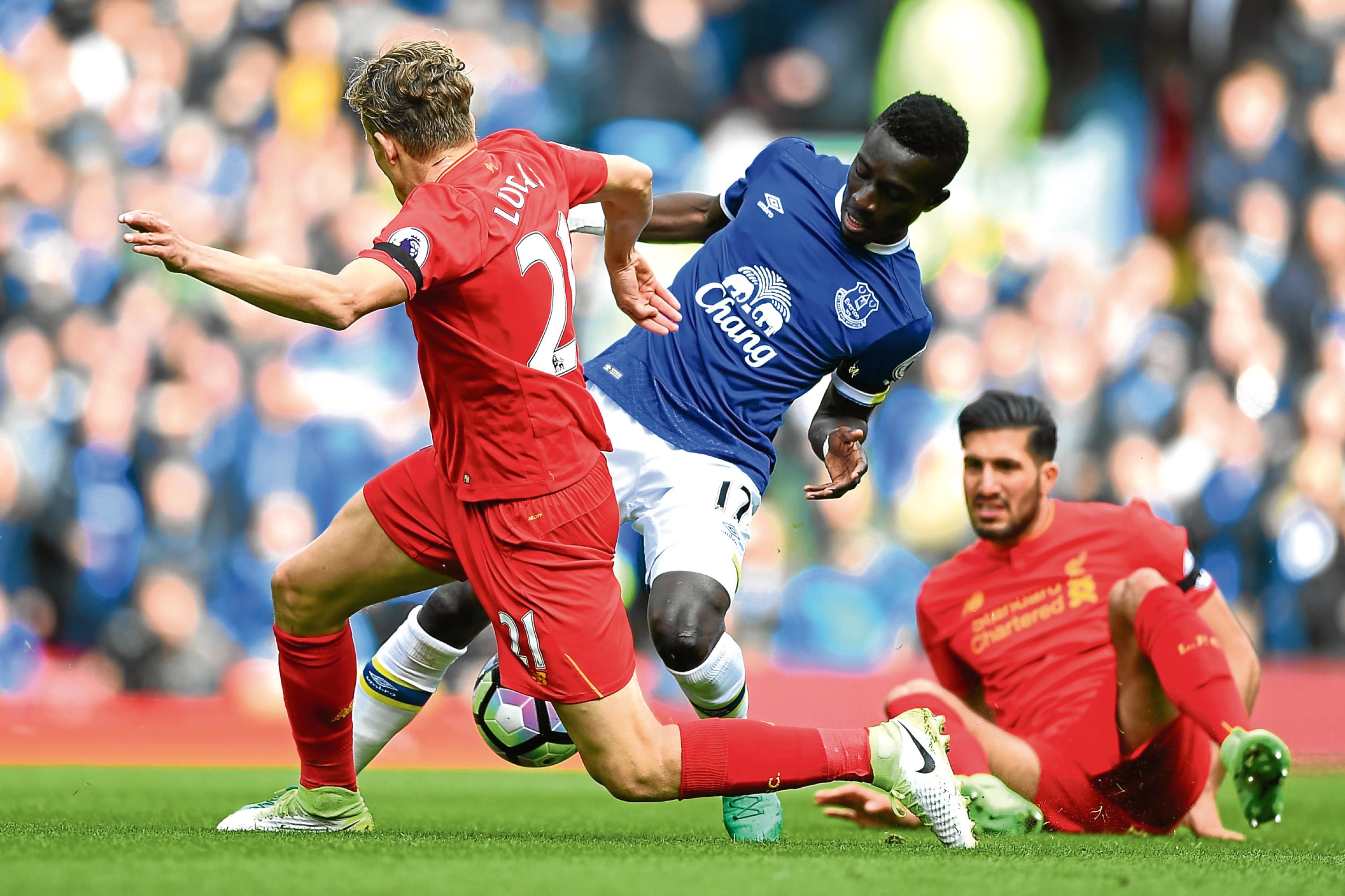 Action from the last Merseyside derby back in April. It will be equally competitive today (Gareth Copley/Getty Images)