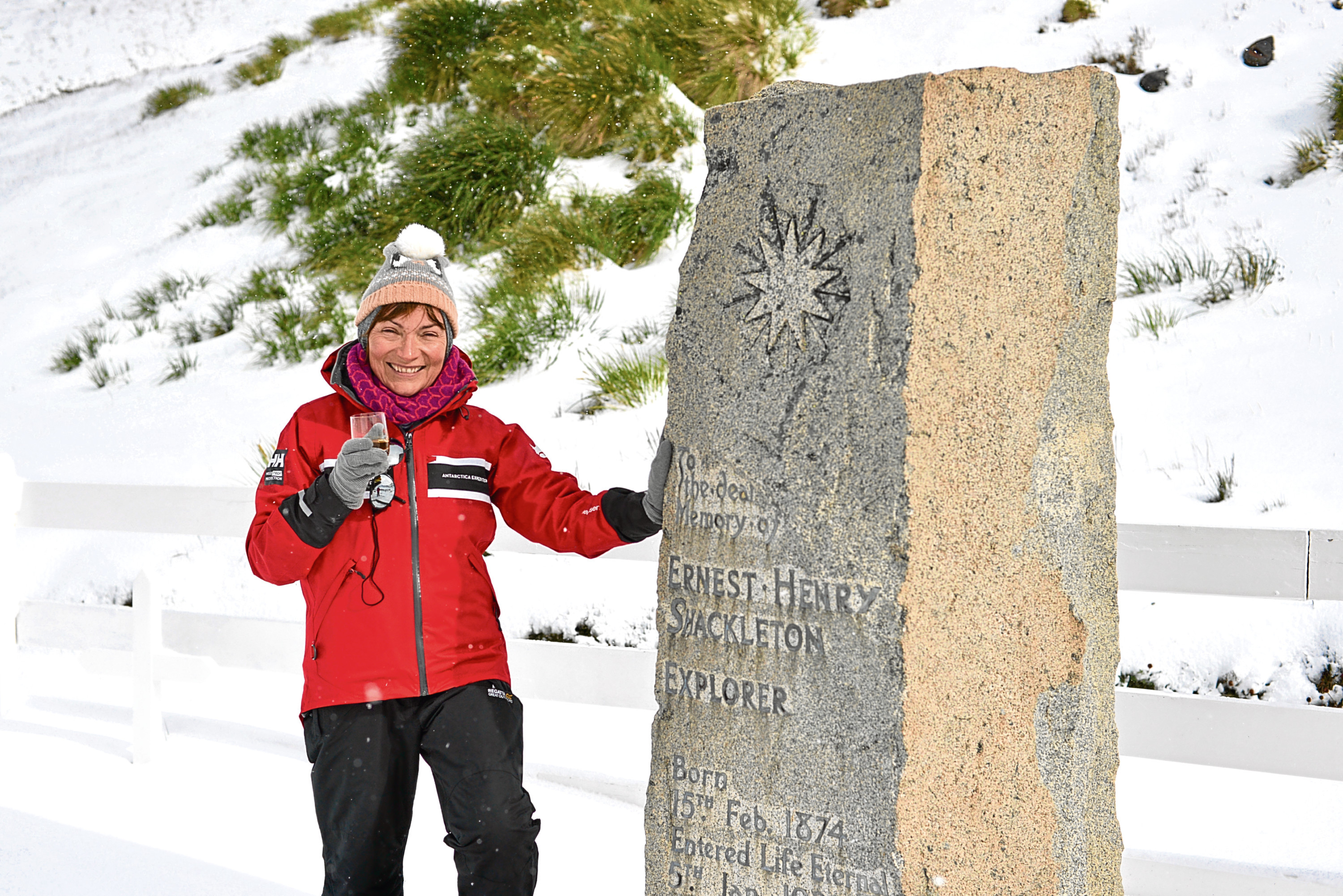 Lorraine Kelly visiting the grave of her hero Sir Ernest Shackleton on an Antarctic trip of a lifetime