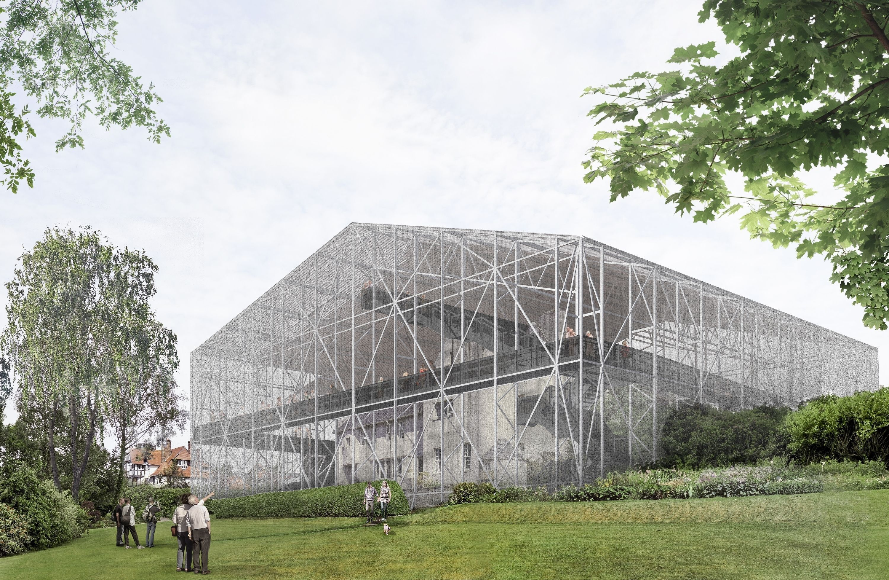"""An artists impression of a giant """"porous cage"""" surrounding The Hill House in Helensburgh (Carmody Groarke/National Trust for Scotland/PA Wire)"""