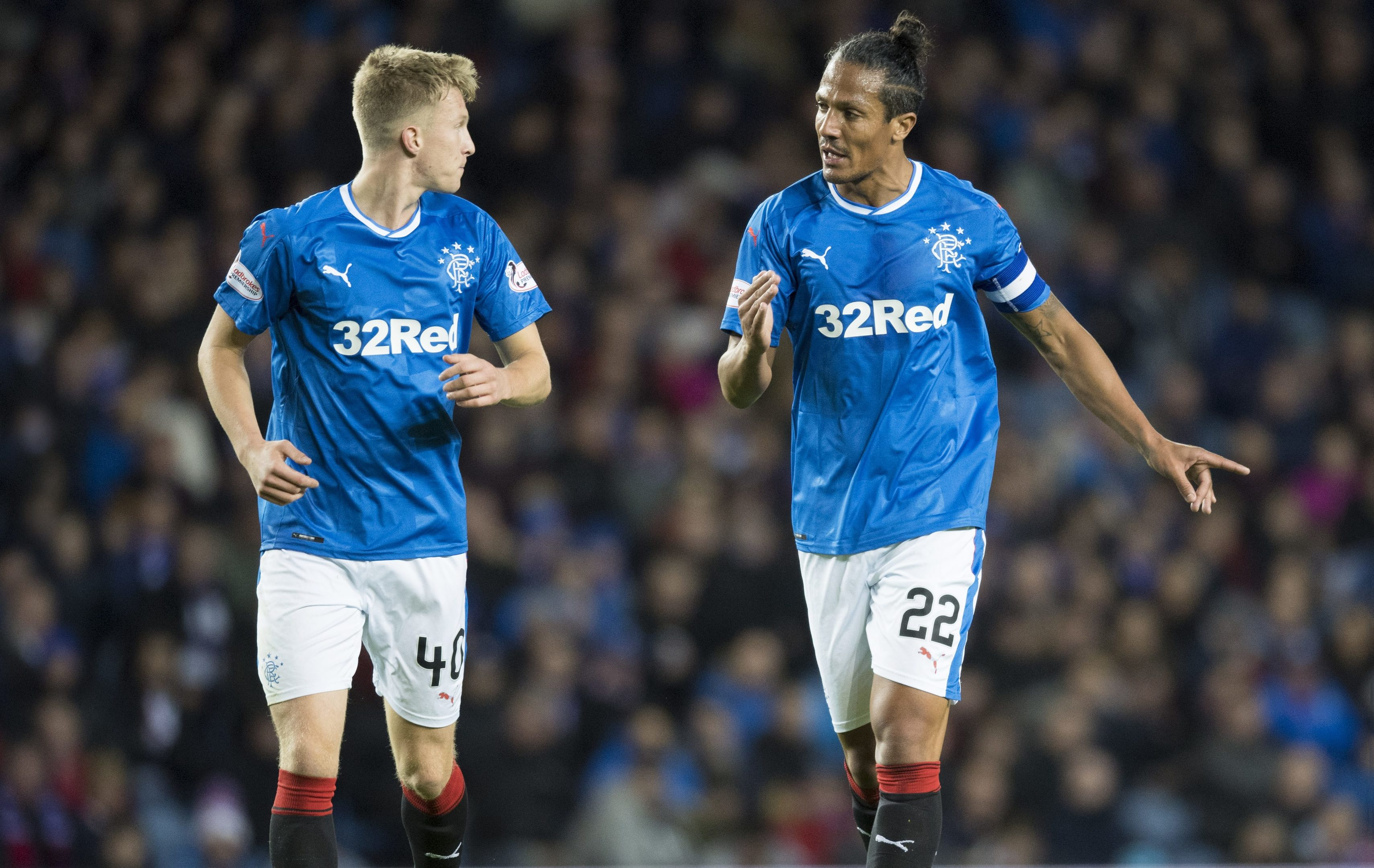 Rangers' Ross McCrorie (L) in action with teammate Bruno Alves (SNS Group)