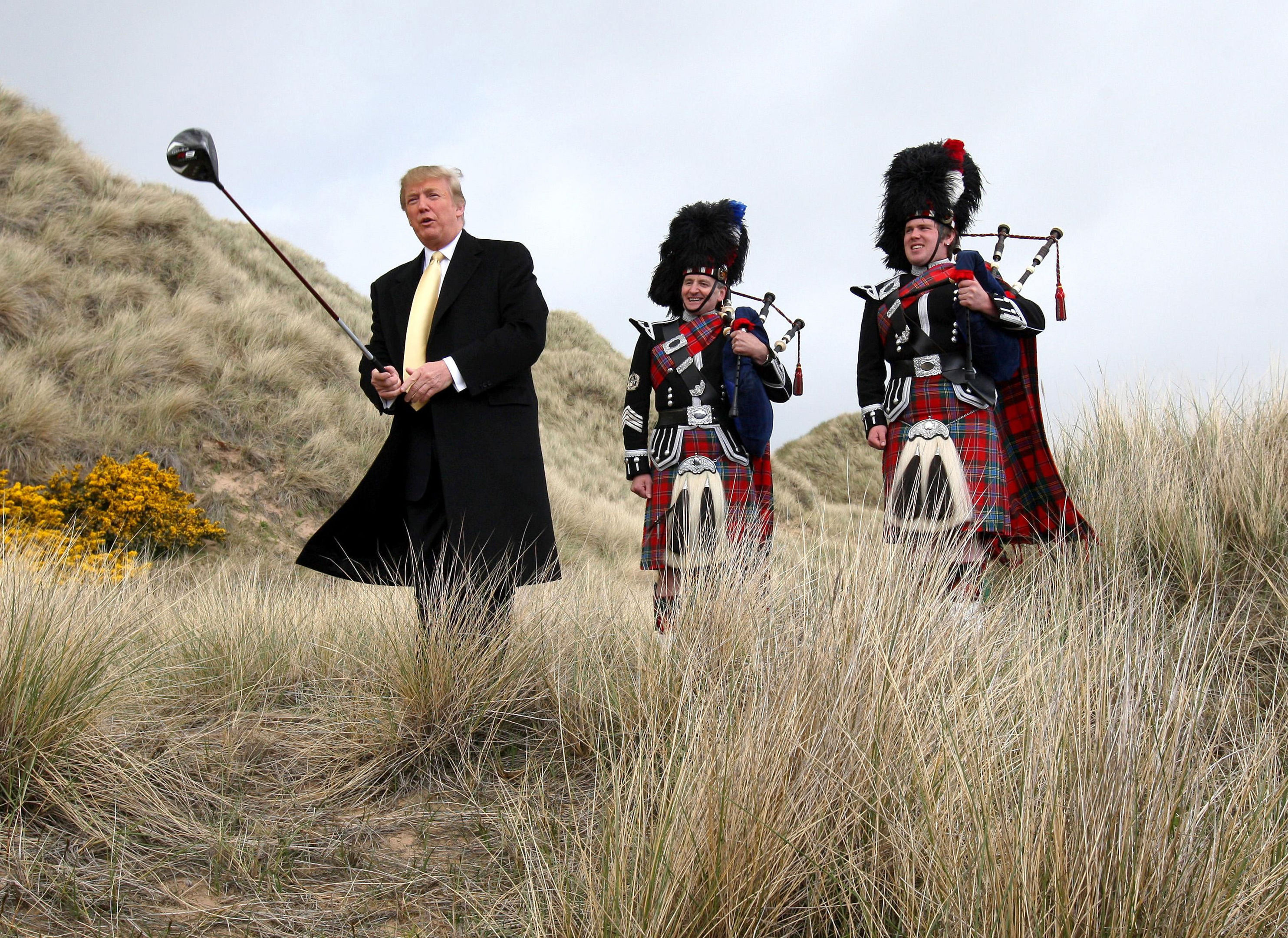 Donald Trump visiting the Menie Estate in Aberdeenshire before his golf resort was built (Andrew Milligan/PA Wire)
