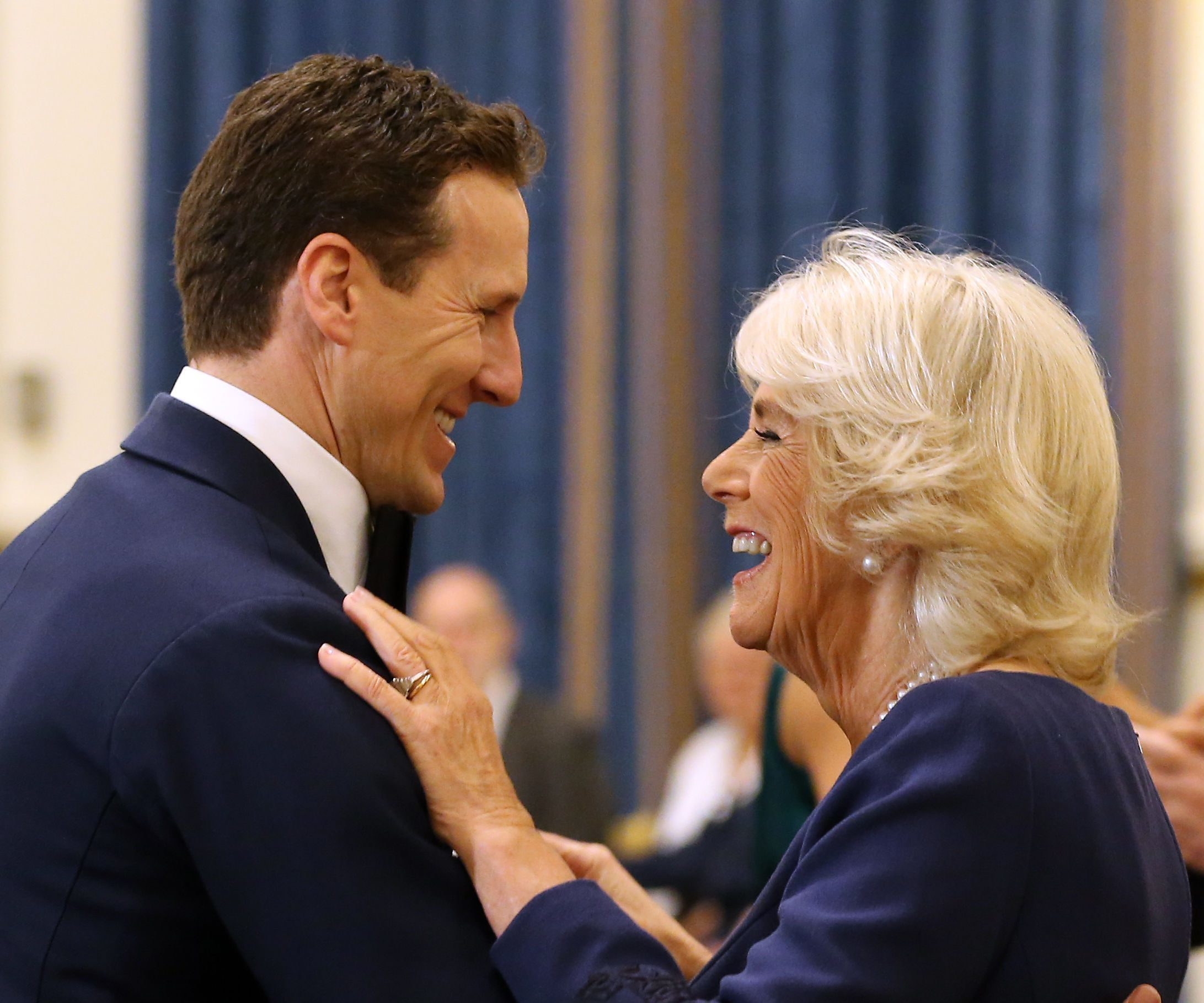 The Duchess of Cornwall, President of the National Osteoporosis Society, dances with 'Strictly Come Dancing' professional dancer Brendan Cole as she hosts a tea dance at Buckingham Palace in London to highlight the benefits for older people of staying active. (Gareth Fuller/PA Wire)
