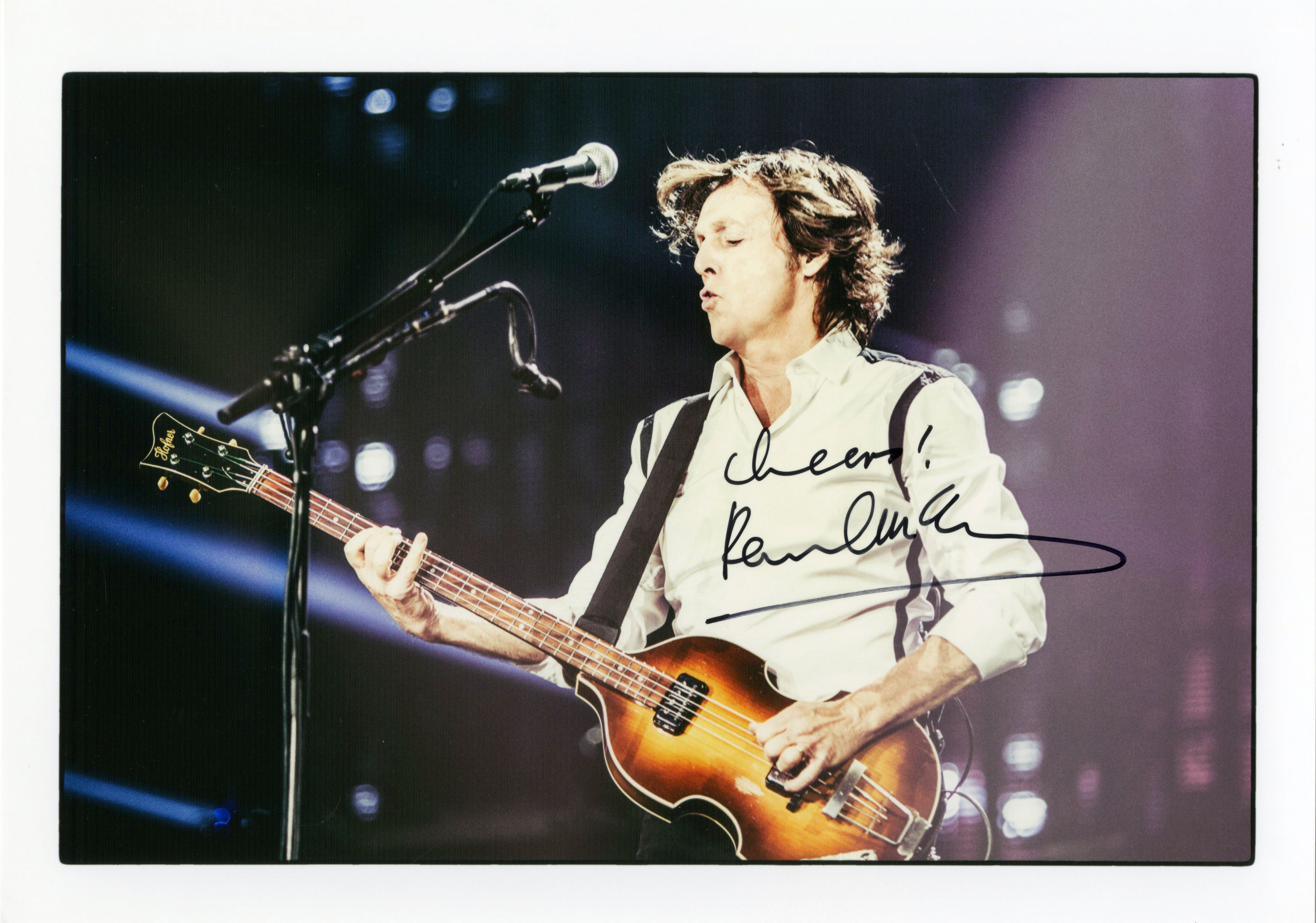 An autographed photograph of Sir Paul McCartney which the former Beatle has donated to raise funds for Kintyre Seasports. (Tracks Ltd /PA Wire)
