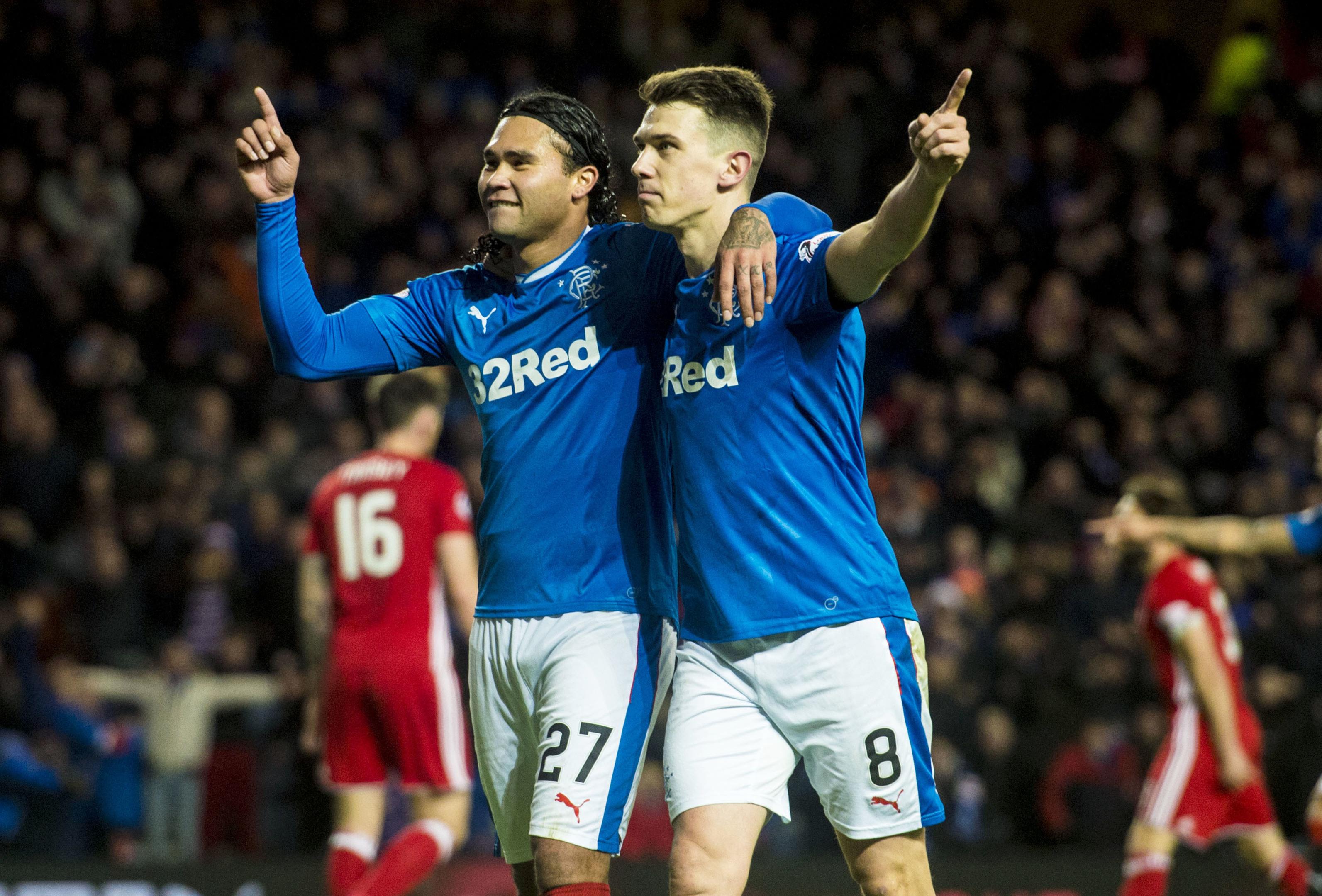 Rangers' Carlos Pena (L) celebrates his goal against Aberdeen with teammate Ryan Jack (SNS Group / Alan Harvey)