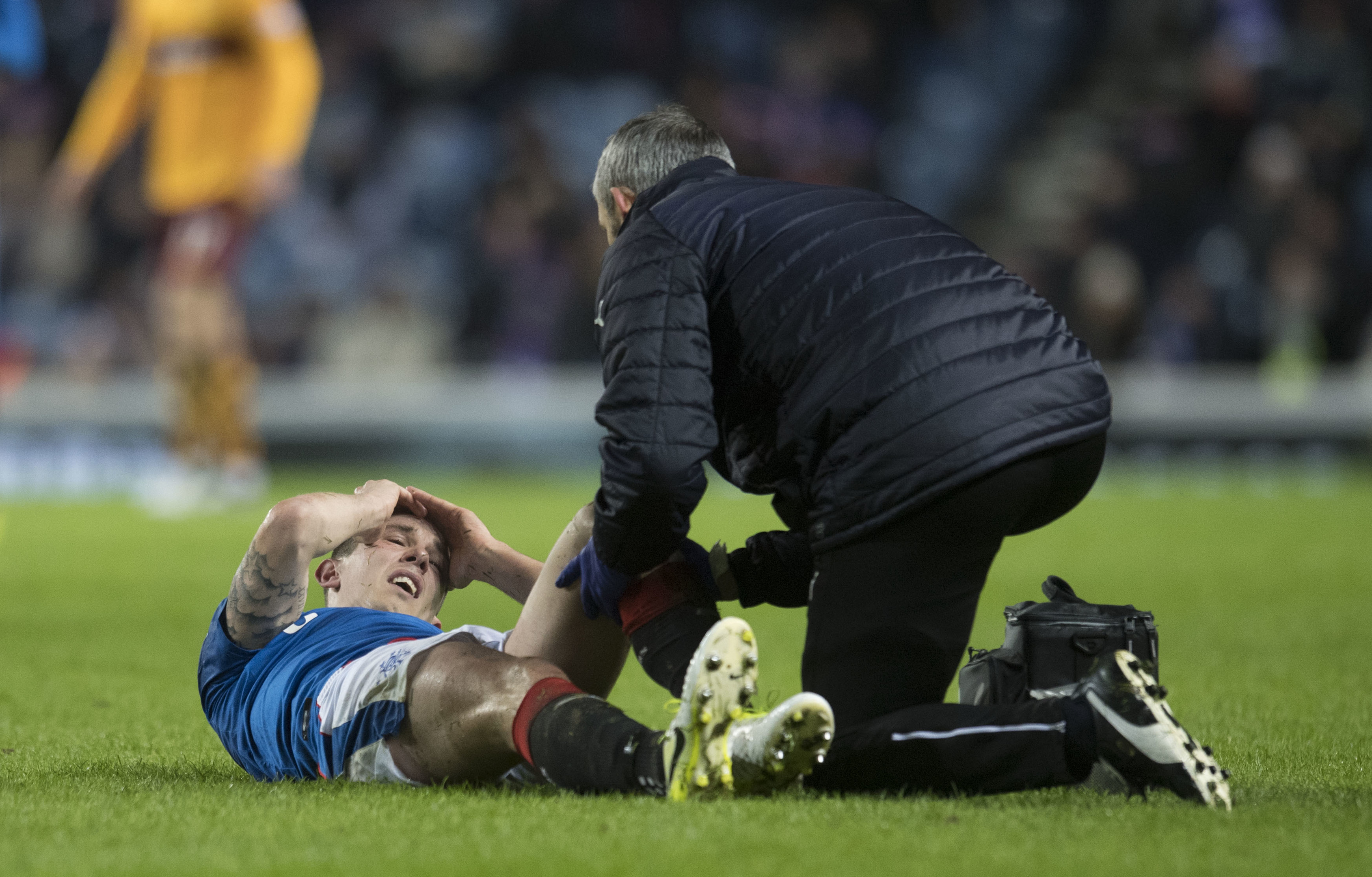 Rangers' Ryan Jack is treated for an injury (SNS Group / Craig Williamson)