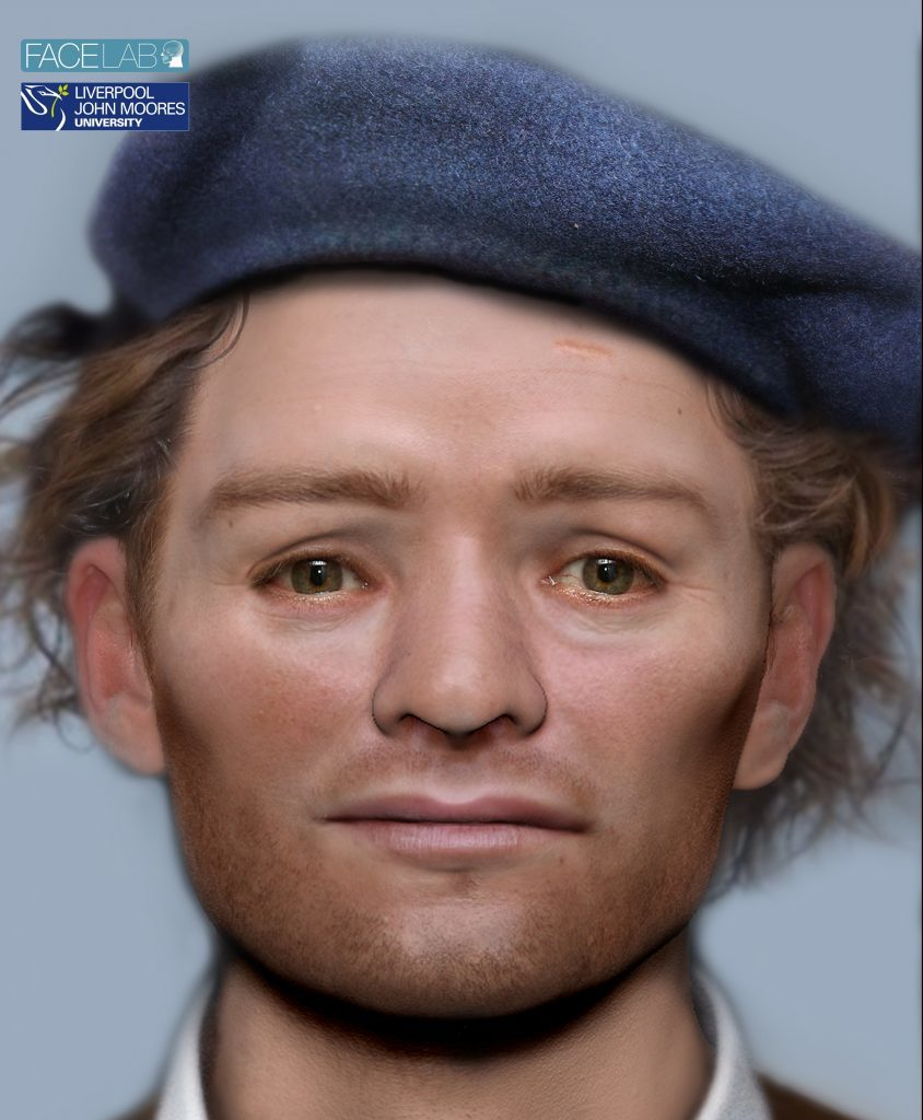 The face of a 17th century Scottish soldier, reconstructed from his skull using sophisticated technology (Face Lab LJMU/PA)