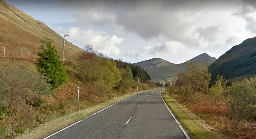 Stretch of the A83 close to where the driver was caught (Google Maps)
