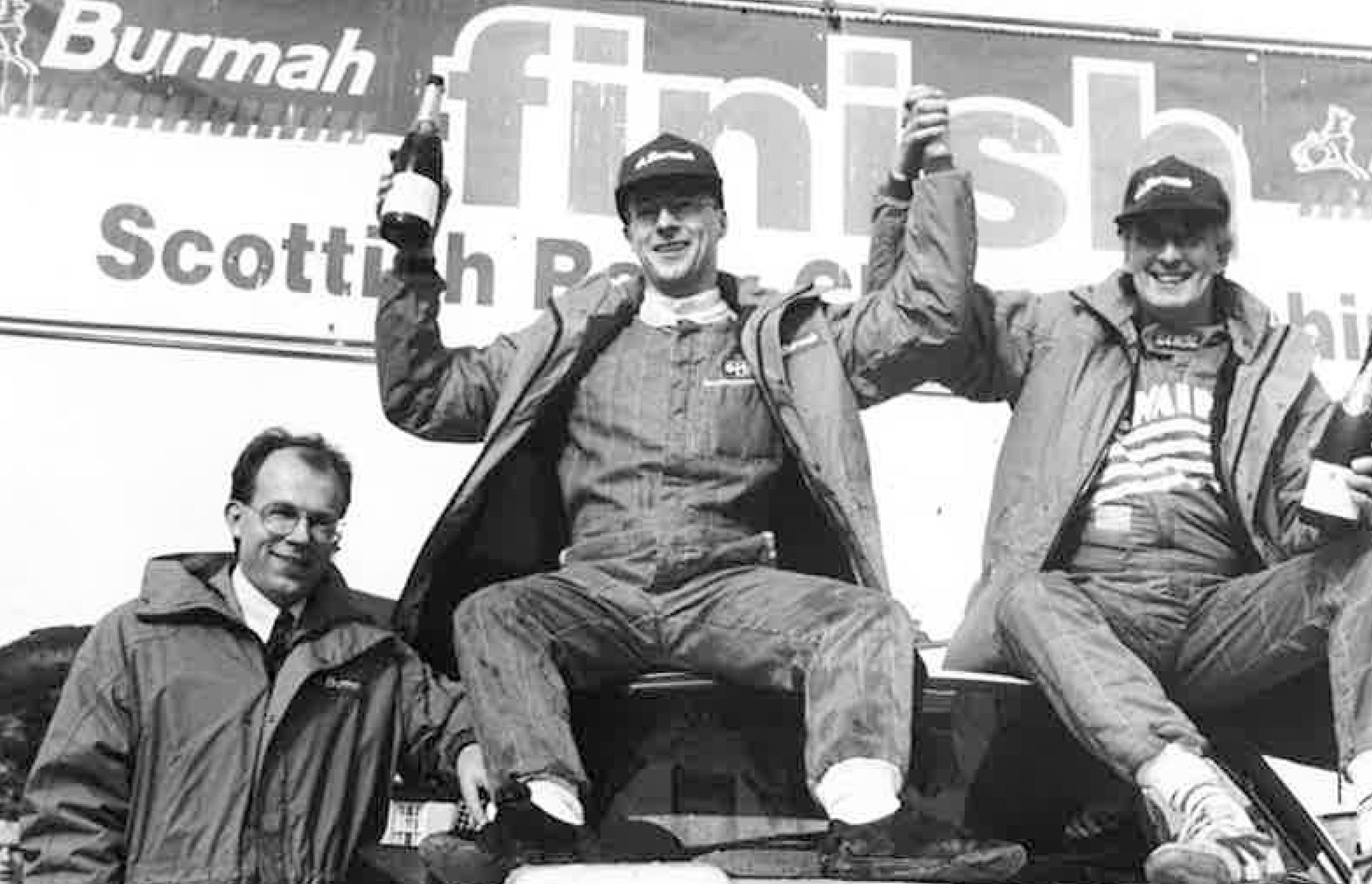 Donald Milne (middle) at the Burmah Scottish Rally Championship in 1994